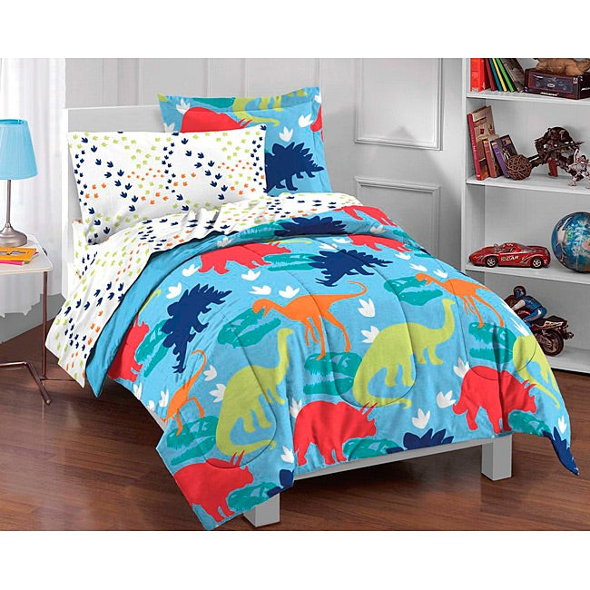 Shop Dream Factory Dinosaur Prints Twin 5 Piece Bed In A Bag With Sheet Set    Free Shipping Today   Overstock.com   6275808