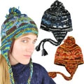 Handmade Wool Multicolor Fleece-Lined Earflap Hat with Top Pom (Nepal)