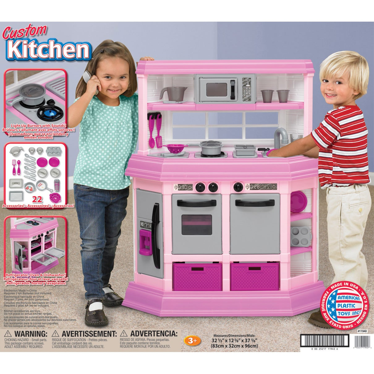 american plastic toys custom kitchen play set   free shipping today   overstock com   13920035 american plastic toys custom kitchen play set   free shipping      rh   overstock com