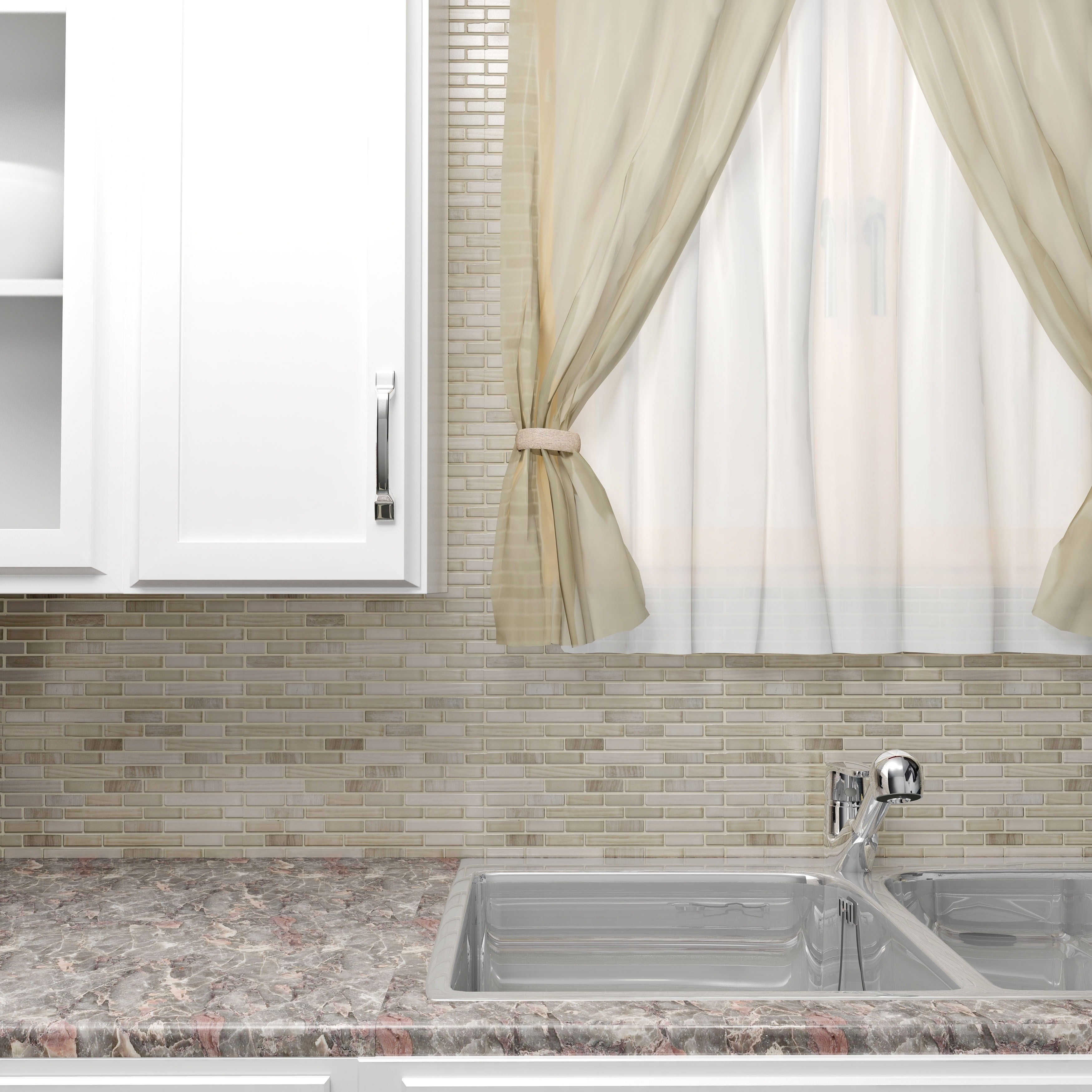 Glass tile for the kitchen on the apron, mosaic for the bathroom