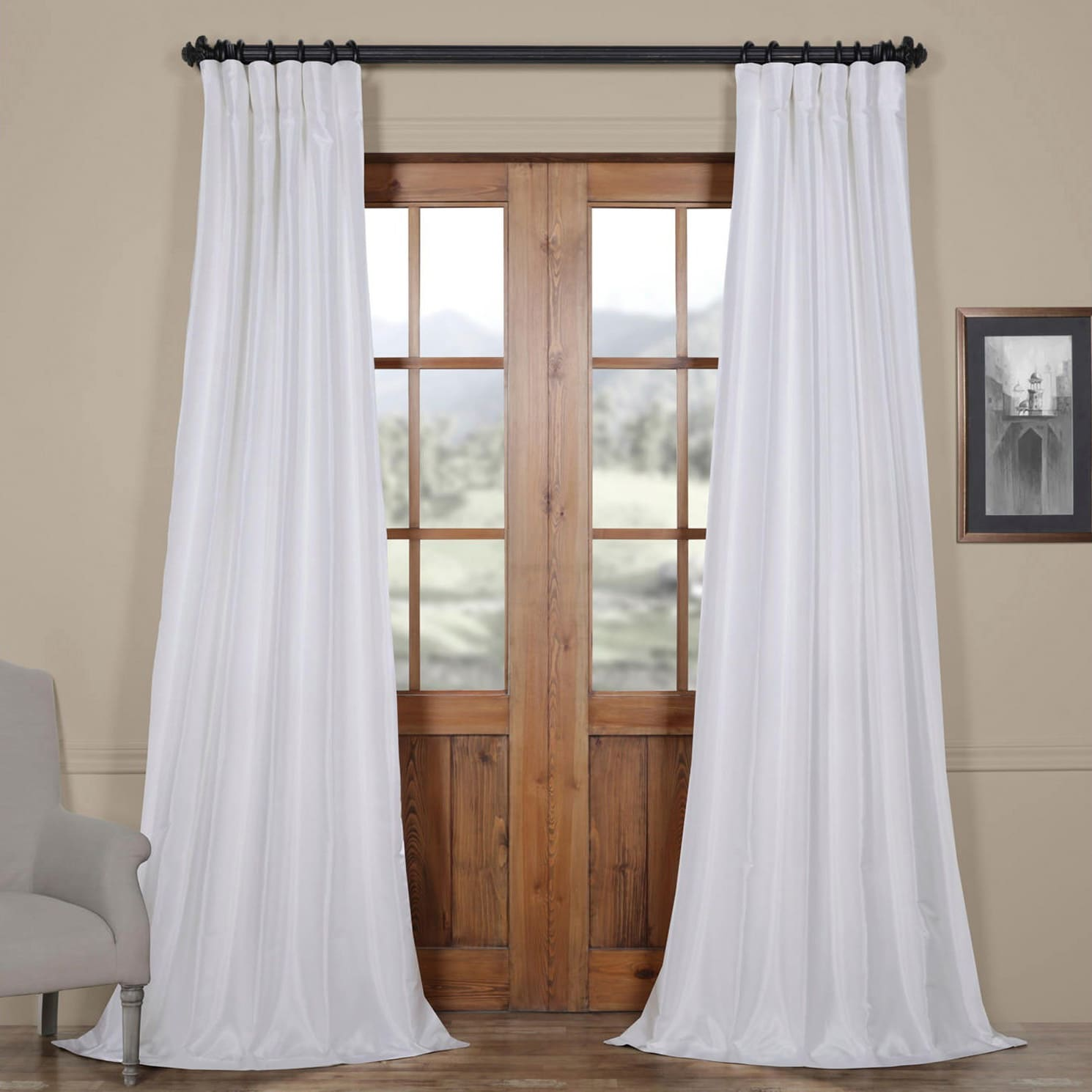 Ice White Vintage Faux Textured Dupioni Silk 108l Curtain Panel On Free Shipping Today 20602770