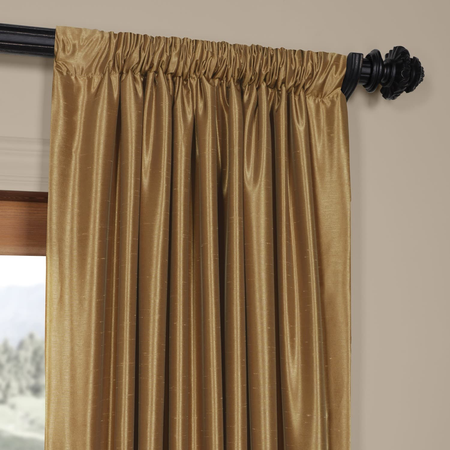 Exclusive Fabrics Flax Gold Vintage Faux Textured Dupioni Silk Single Curtain Panel On Free Shipping Today 6298139