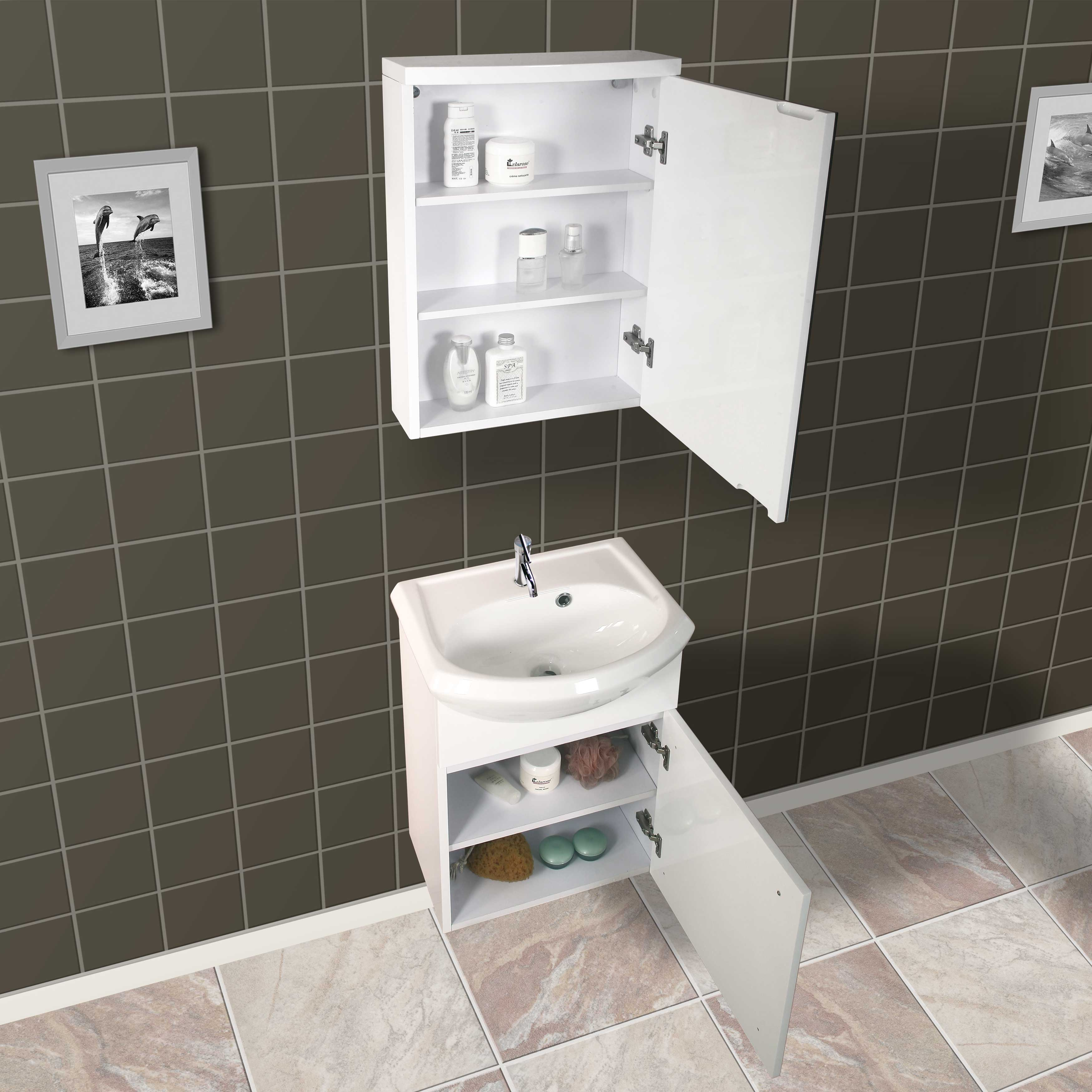Shop Dreamline Wall Mounted Modern Bathroom Vanity With Medicine - Contemporary-bathroom-vanities-from-dreamline
