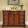Silkroad Exclusive Travertine Stone Top 48-inch Single Sink Cabinet Bathroom Vanity