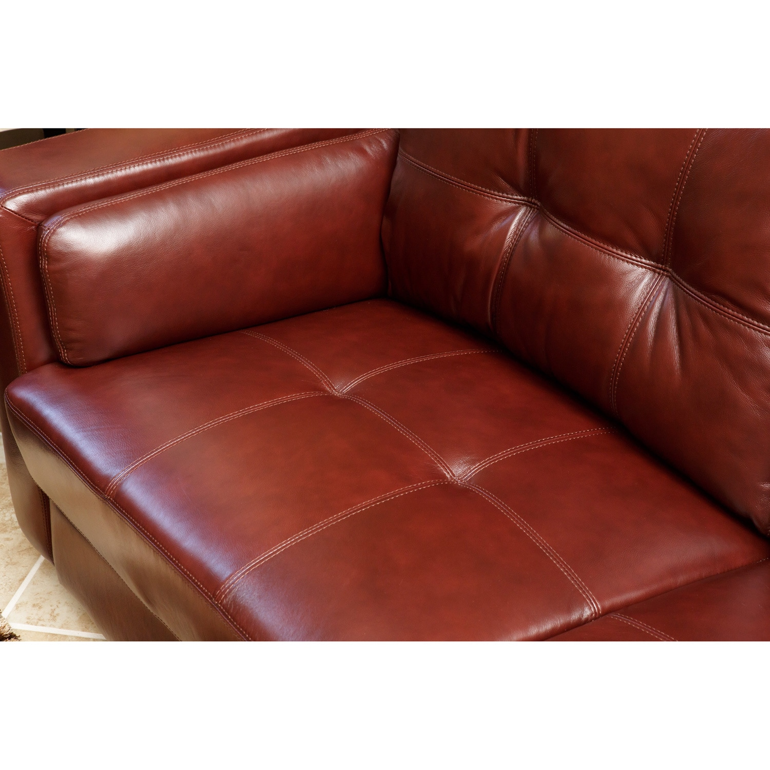 Abbyson Torrance Burgundy Top Grain Leather Sofa And Armchair Set Free Shipping Today 6304836