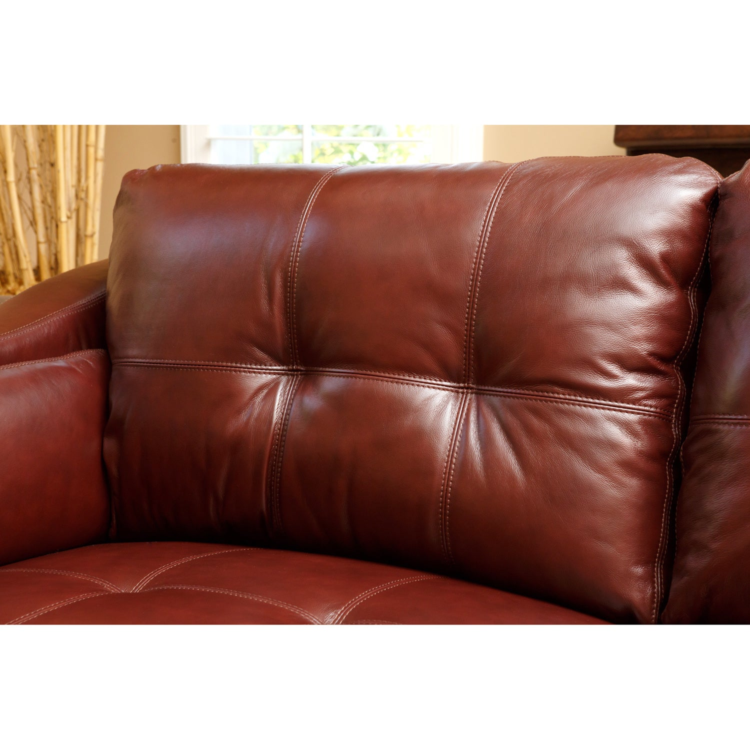 Abbyson Torrance Burgundy Top Grain Leather Sofa And Loveseat Set Free Shipping Today 6304838