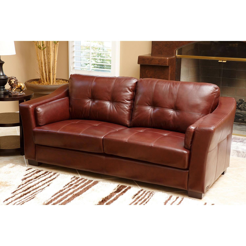 abbyson torrance burgundy top grain leather sofa and loveseat set