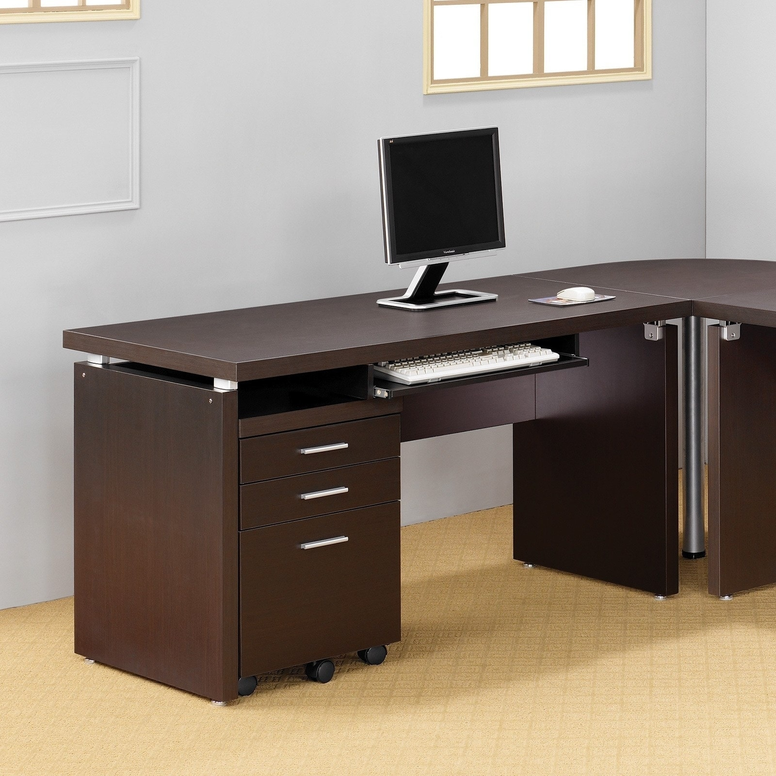 Shop Computer Desk With Keyboard Tray In Cappuccino   Free Shipping Today    Overstock.com   6304932