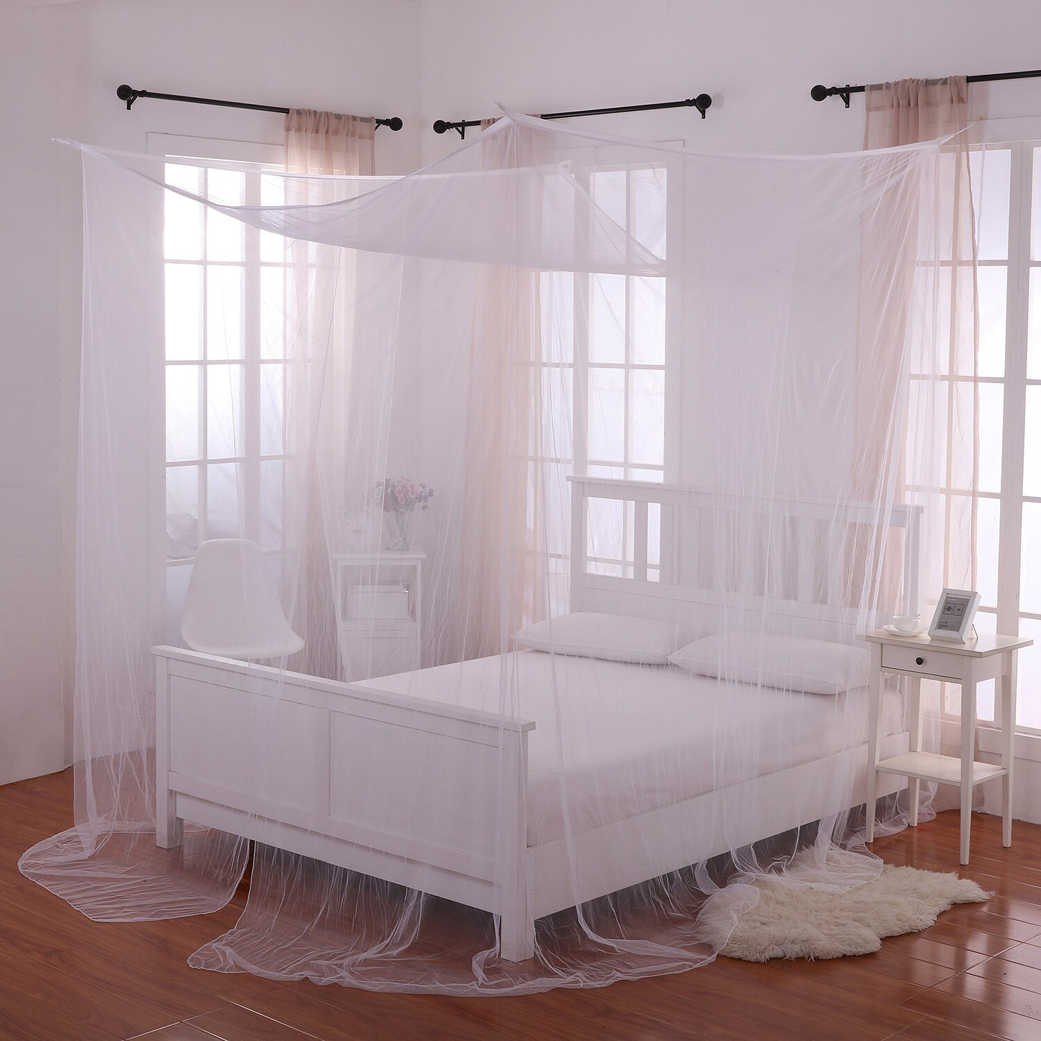 3b74793018da1 Shop Palace 4-Post Sheer Panel Bed Canopy - Free Shipping On Orders ...