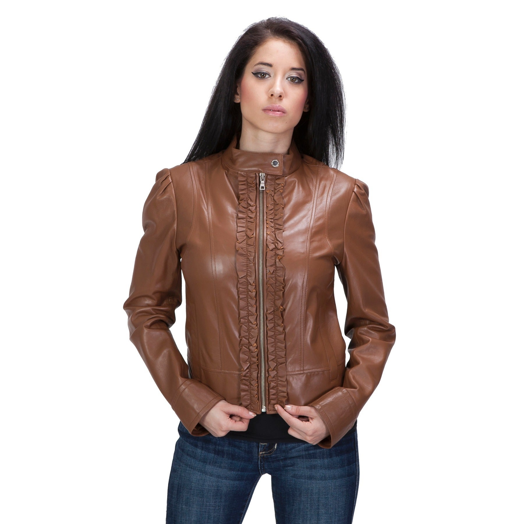 Womens brown leather jacket with ruffles