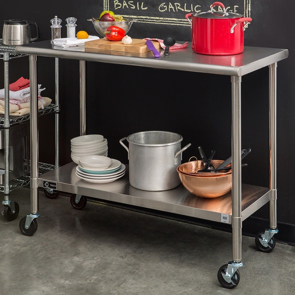 Trinity Stainless Steel Table With Caster Kit   Free Shipping Today    Overstock   13937213