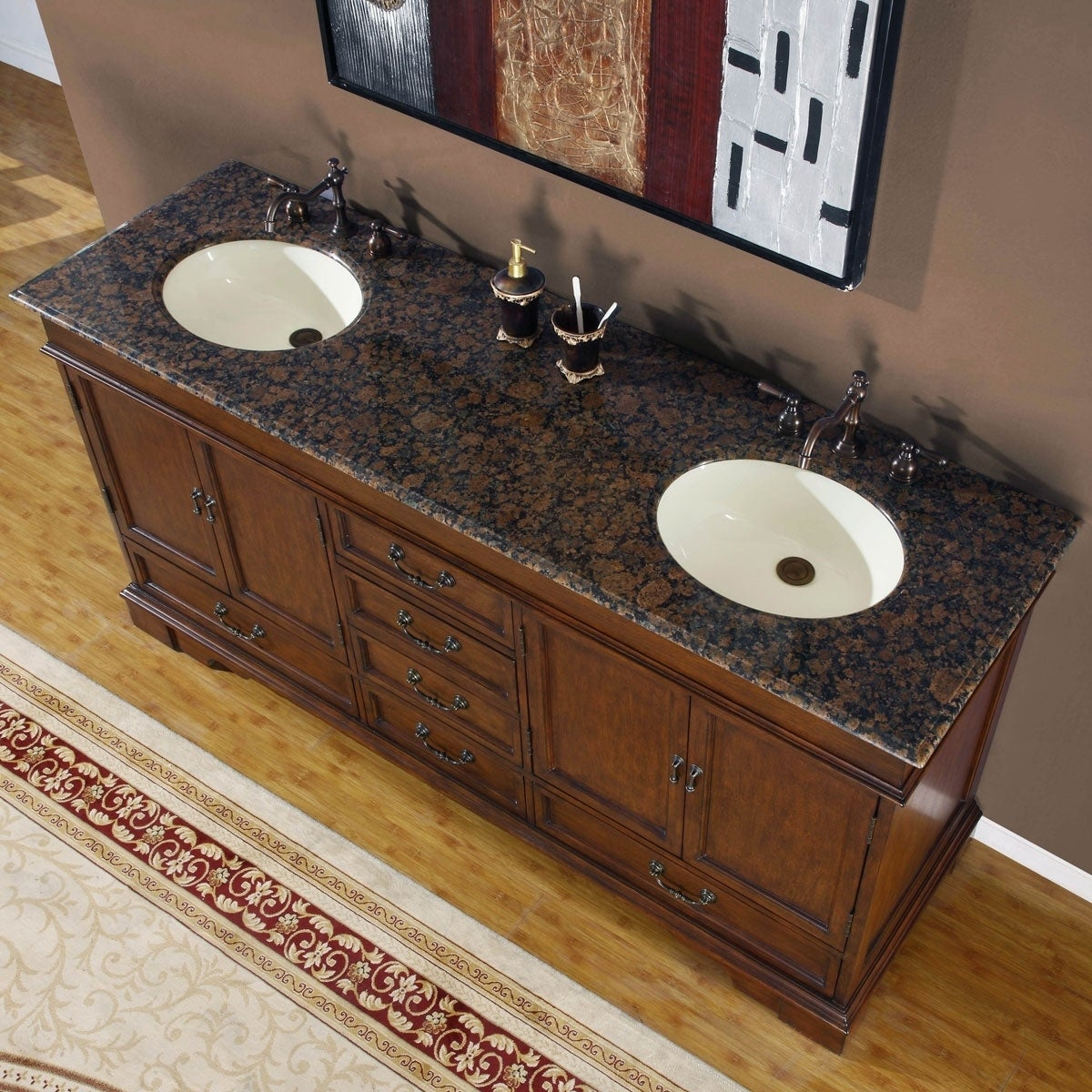Shop Silkroad Exclusive Natural Stone Top Sink Cabinet 72 Inch