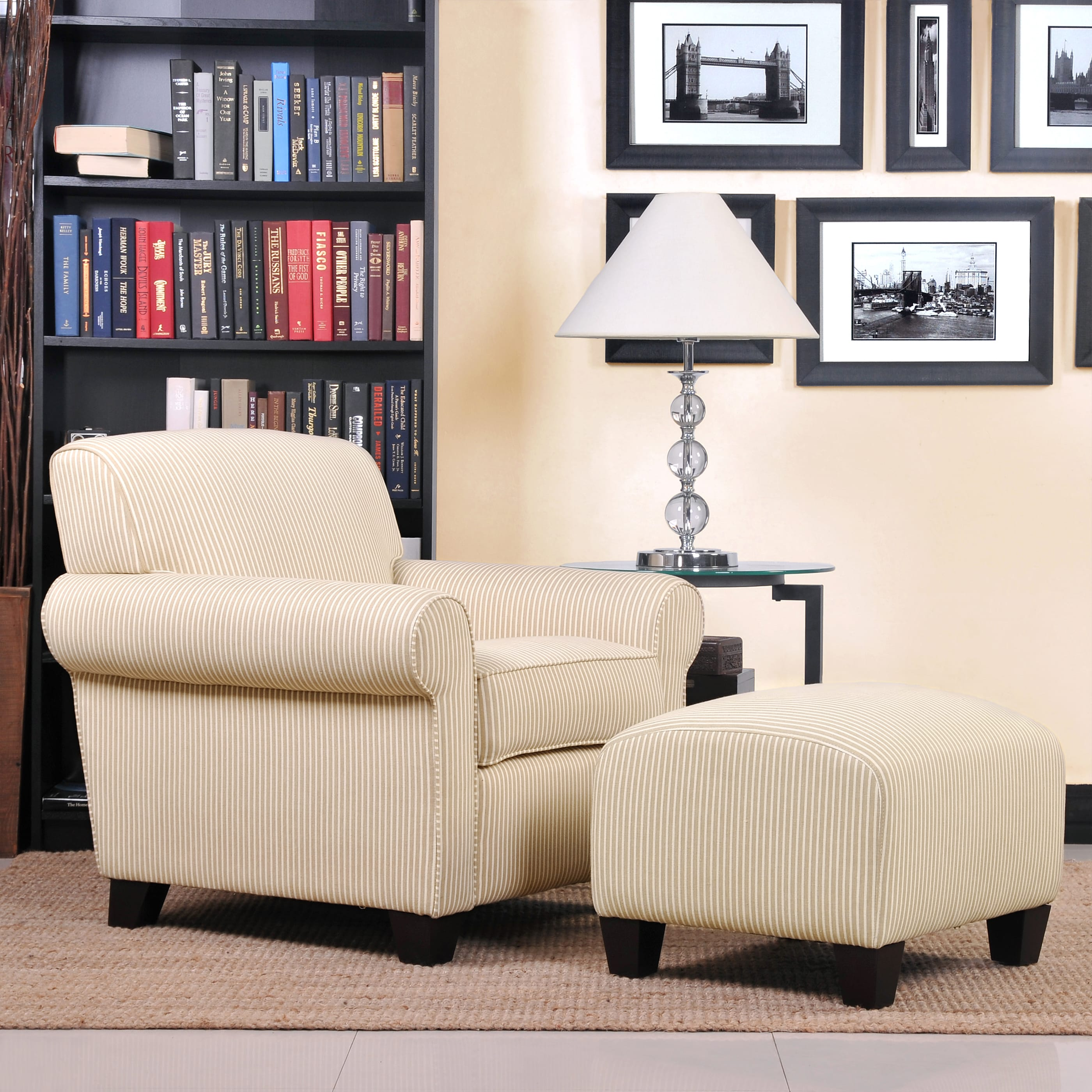 Handy Living Mira Sand Stripe Transitional Arm Chair and Ottoman ...