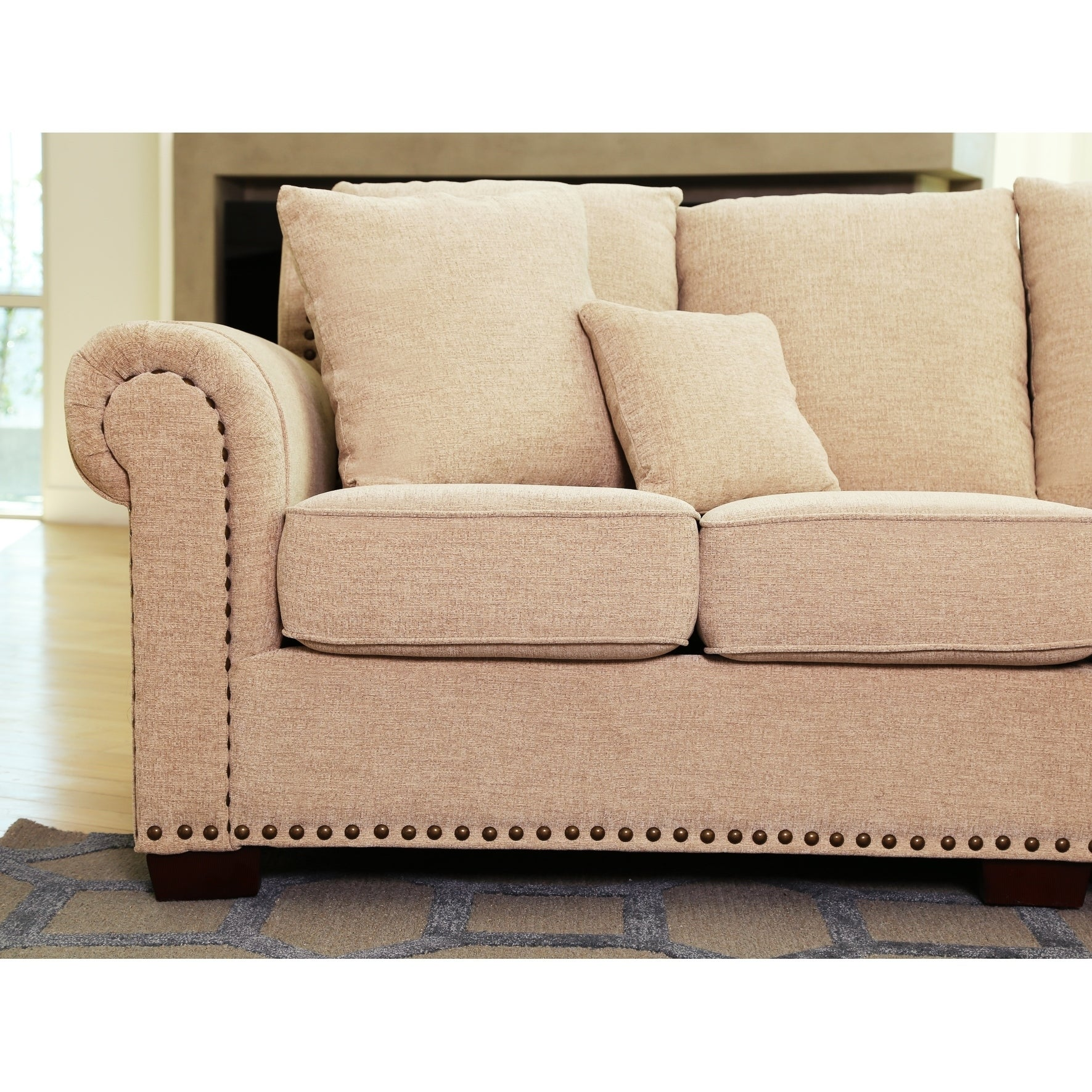 Shop Abbyson Santa Barbara Beige Fabric Sectional   On Sale   Free Shipping  Today   Overstock.com   6315945