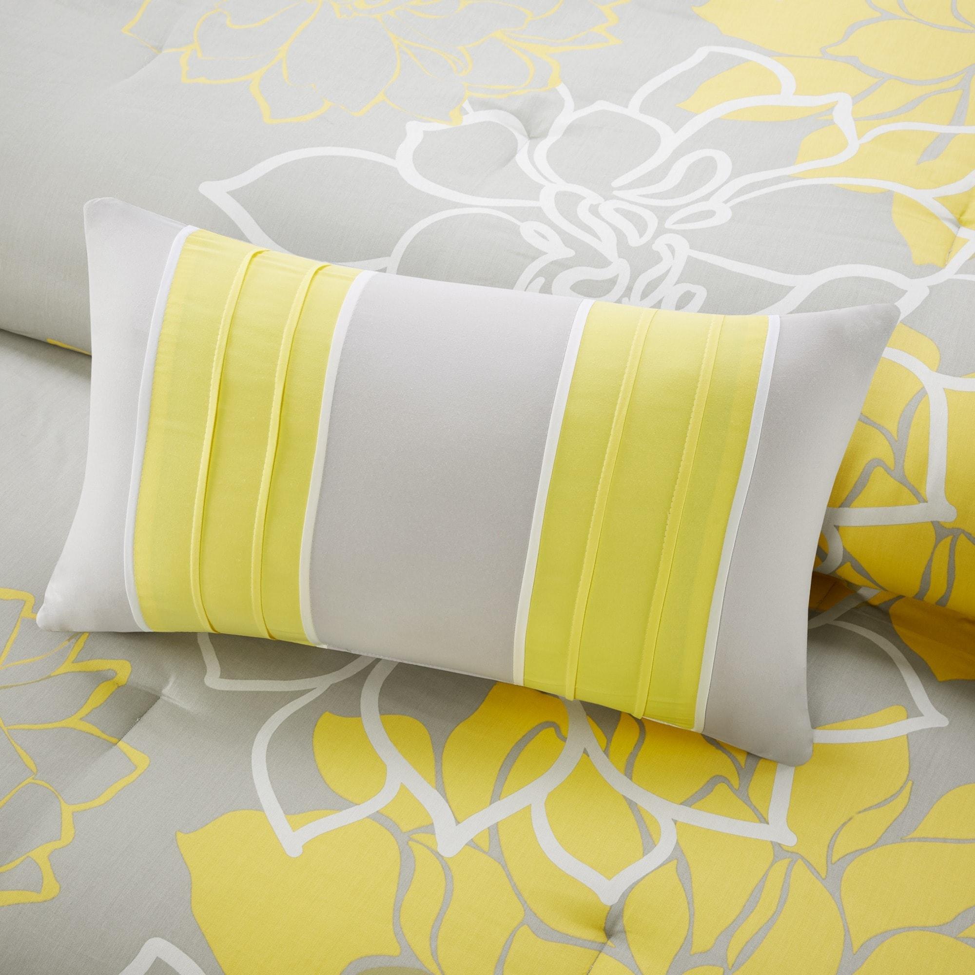 duvet bedding grey and pin pillow dot yellow polka cover cases set