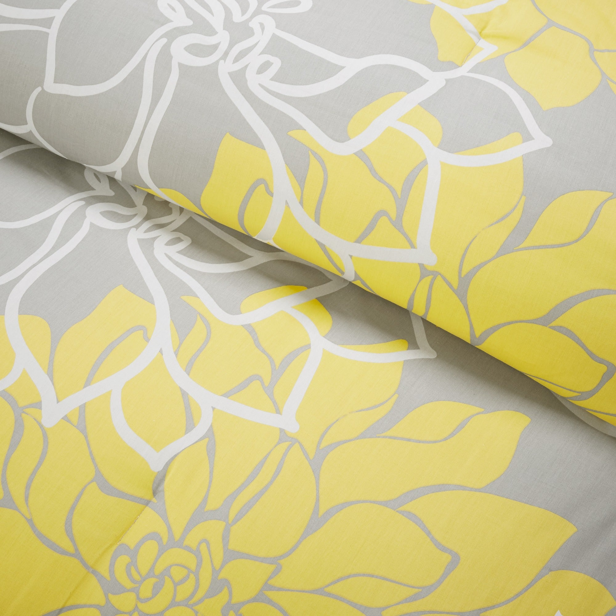 Shop Madison Park Brianna Grey And Yellow Flower Printed Cotton