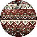 Hand-tufted Red Southwestern Aztec Barnet New Zealand Wool Rug (8' Round)