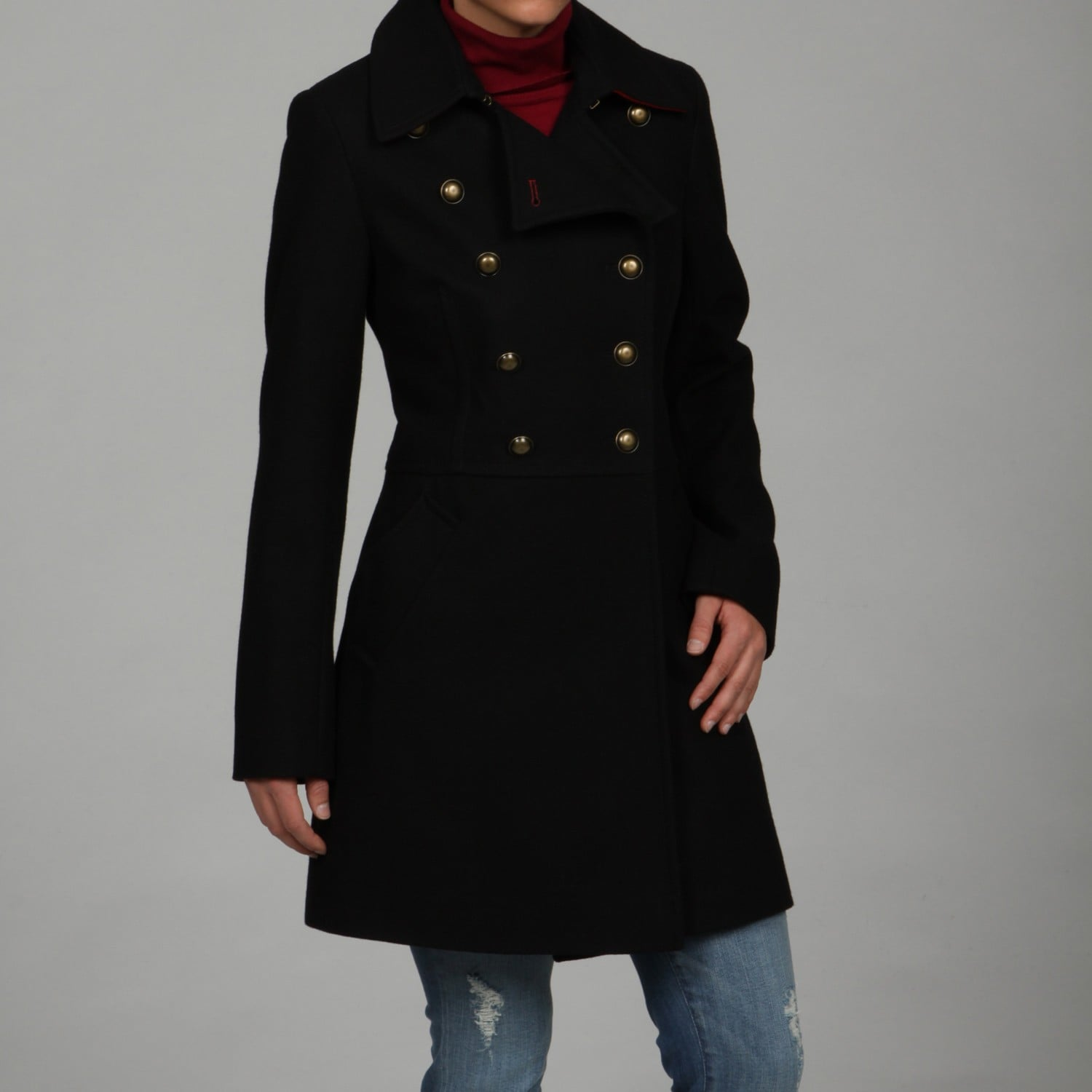e5073df81db Tommy Hilfiger Women s Wool Double-breasted Button-front Military Coat