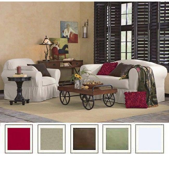 Stupendous All Cotton 2 Piece Ruffled Skirt Loveseat Slipcover Overstock Com Shopping The Best Deals On Loveseat Slipcovers Pdpeps Interior Chair Design Pdpepsorg
