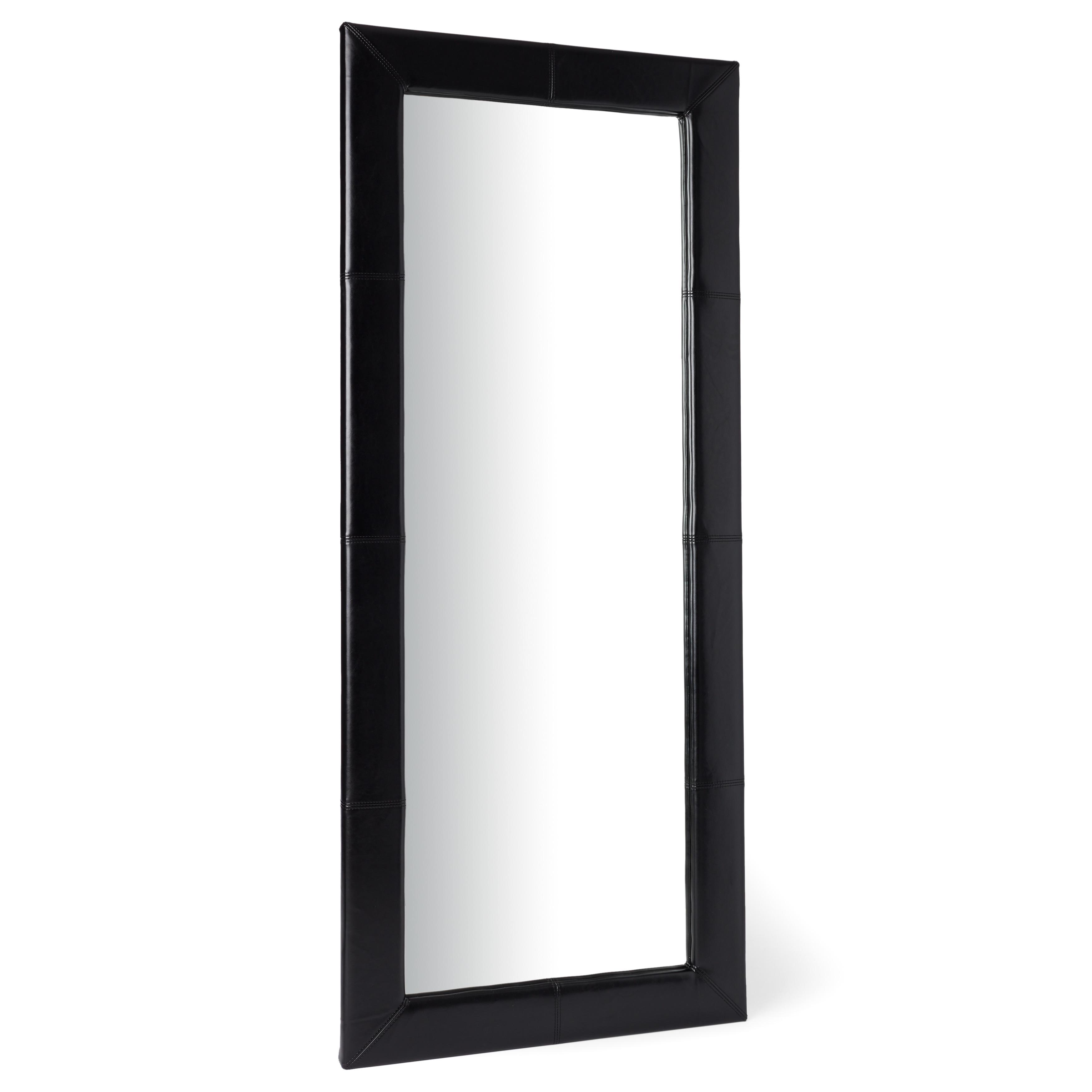 Abbyson Delano Black Leather Floor Mirror - Free Shipping Today ...