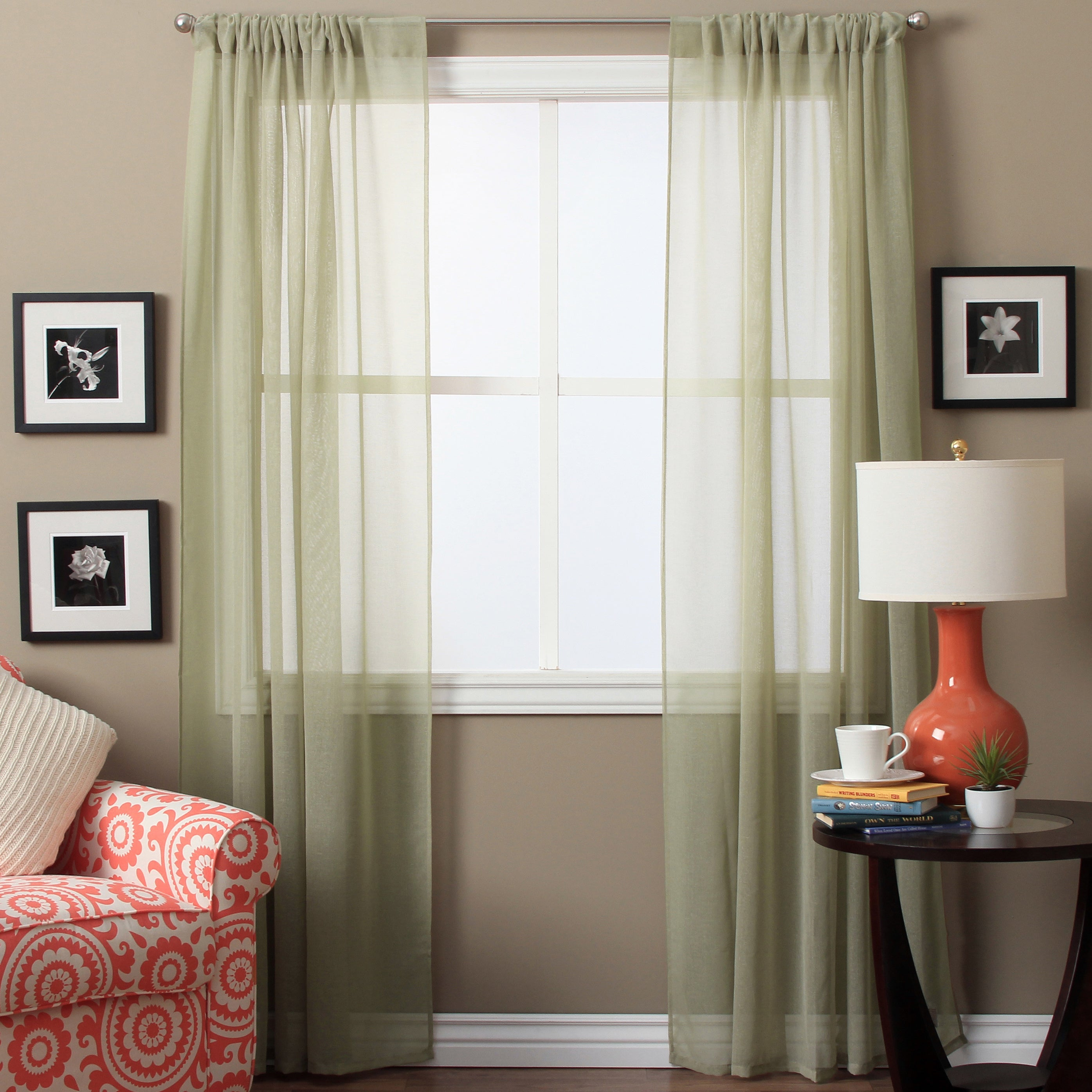 Shop Lucerne Sheer 96-inch Curtain Panel Pair - 52 x 96 - Free ...