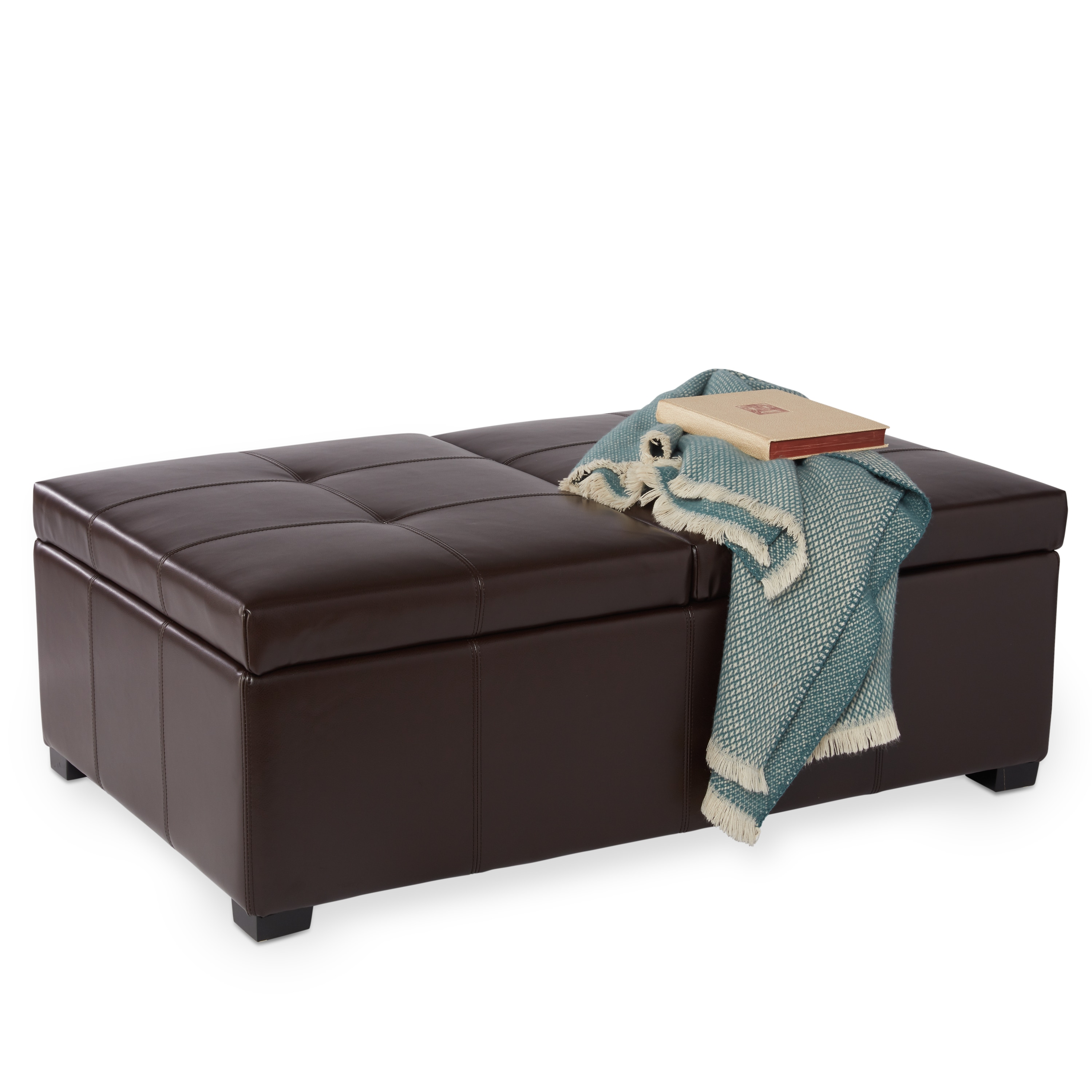 Shop Abbyson Frankfurt Dark Brown Leather Double Flip-top Storage Ottoman - On Sale - Free Shipping Today - Overstock.com - 6335502  sc 1 st  Overstock.com & Shop Abbyson Frankfurt Dark Brown Leather Double Flip-top Storage ...