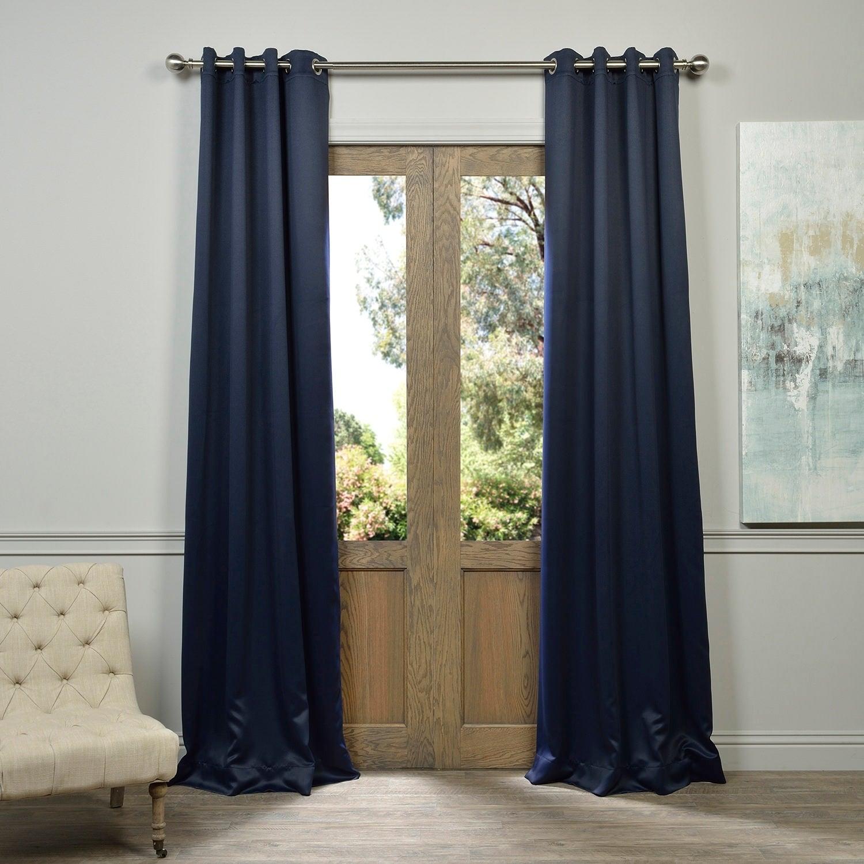 Shop Exclusive Fabrics Navy Blue Grommet Blackout Curtain Panel Pair