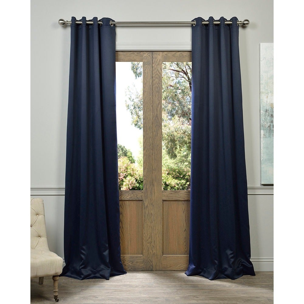 Exclusive Fabrics Navy Grommet Blue Thermal Blackout Curtain Panel Pair -  Free Shipping Today - Overstock.com - 13960243