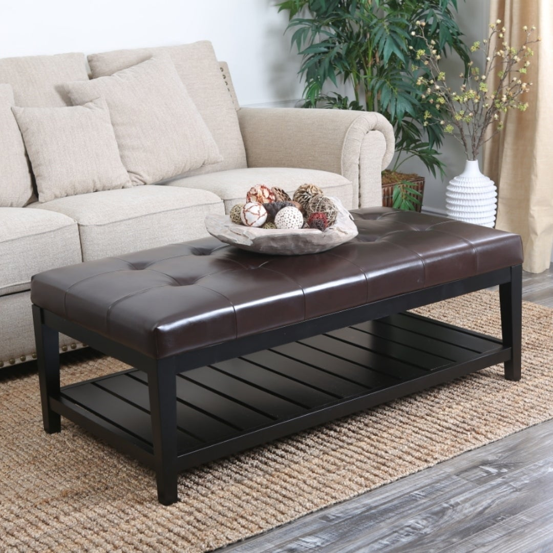 Abbyson Manchester Tufted Leather Coffee Table Ottoman On Free Shipping Today 6342162