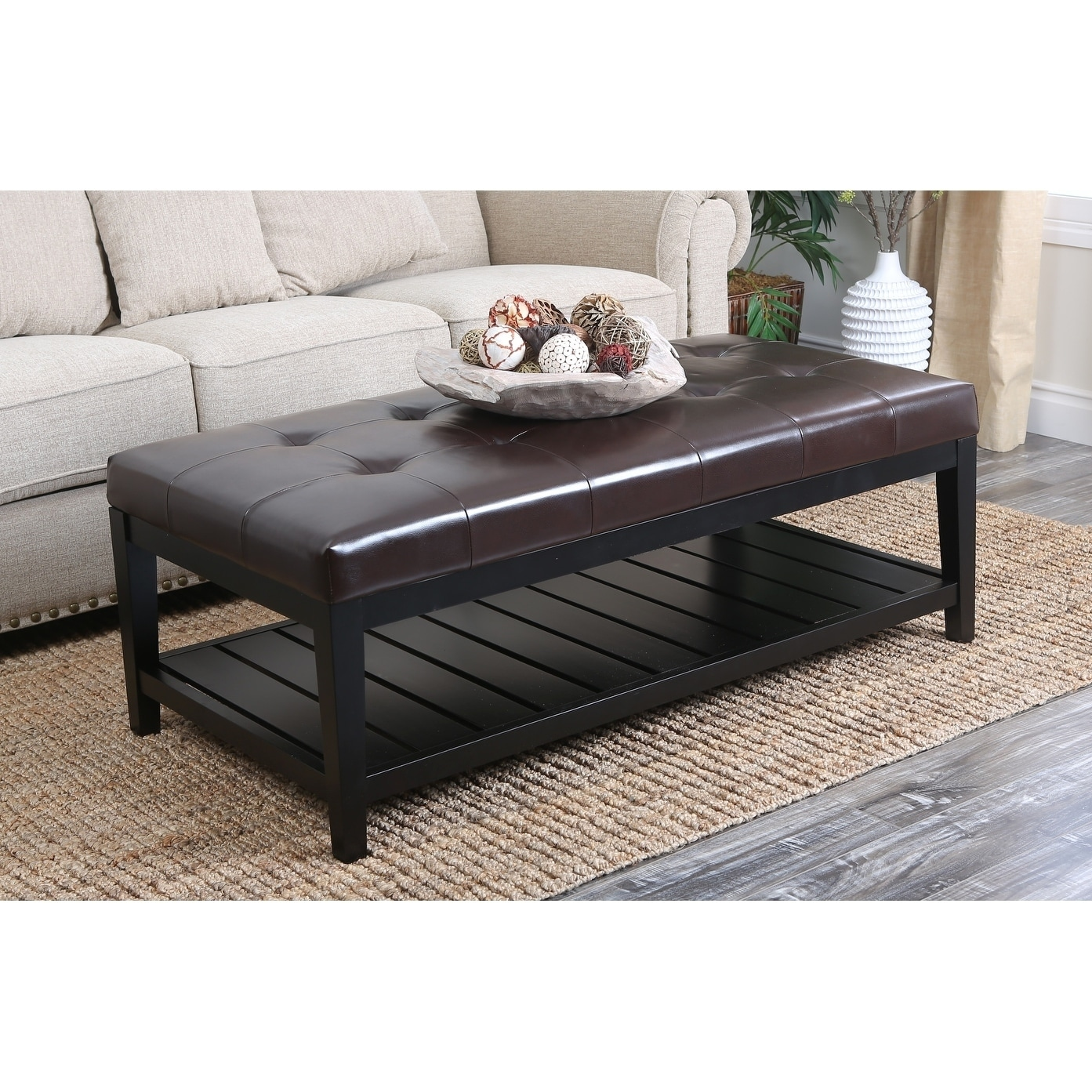 leather room charming tufed coffee table modern your ikea idea for rectangular decor ottoman living black