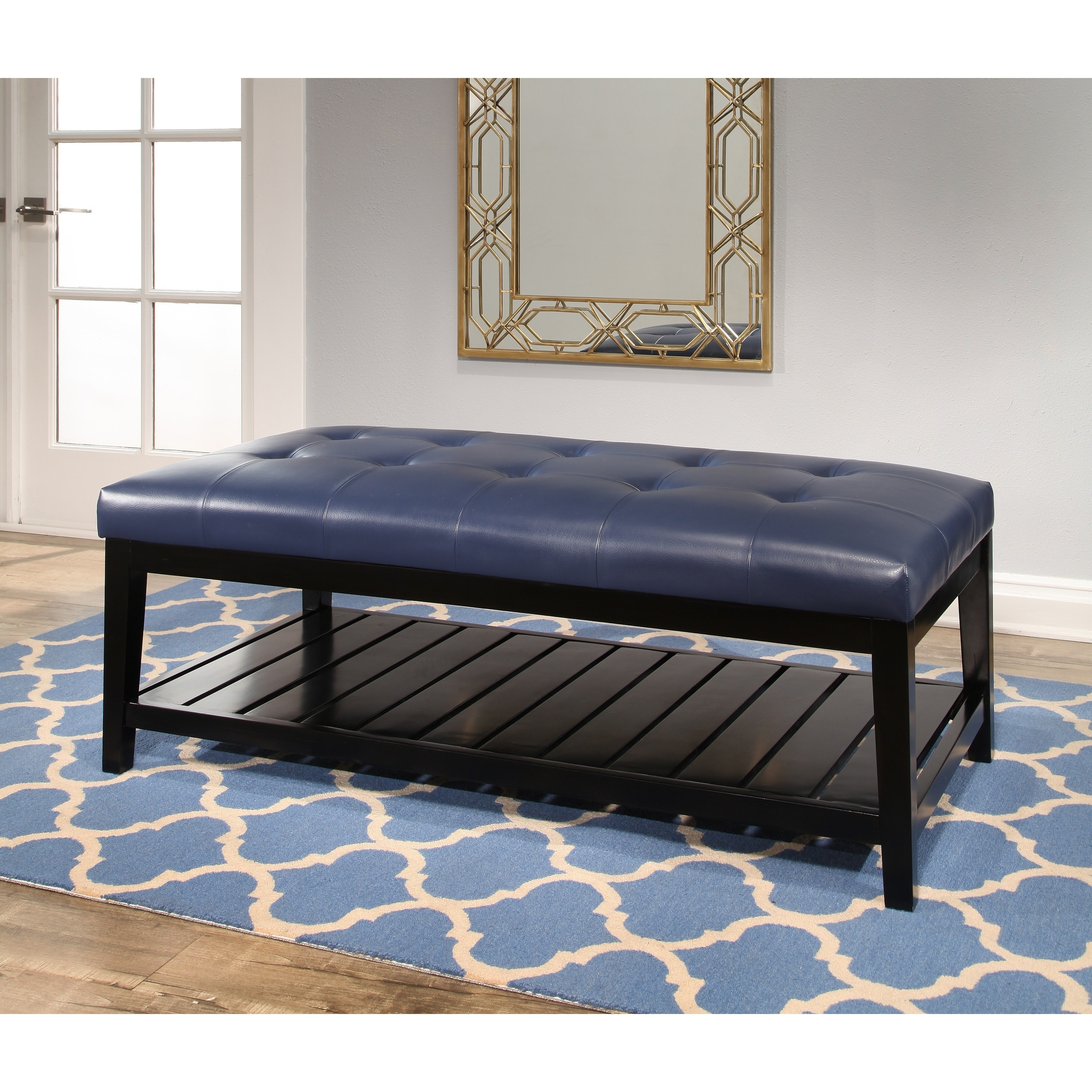 Shop Abbyson Manchester Tufted Leather Coffee Table Ottoman   On Sale    Free Shipping Today   Overstock.com   6342162