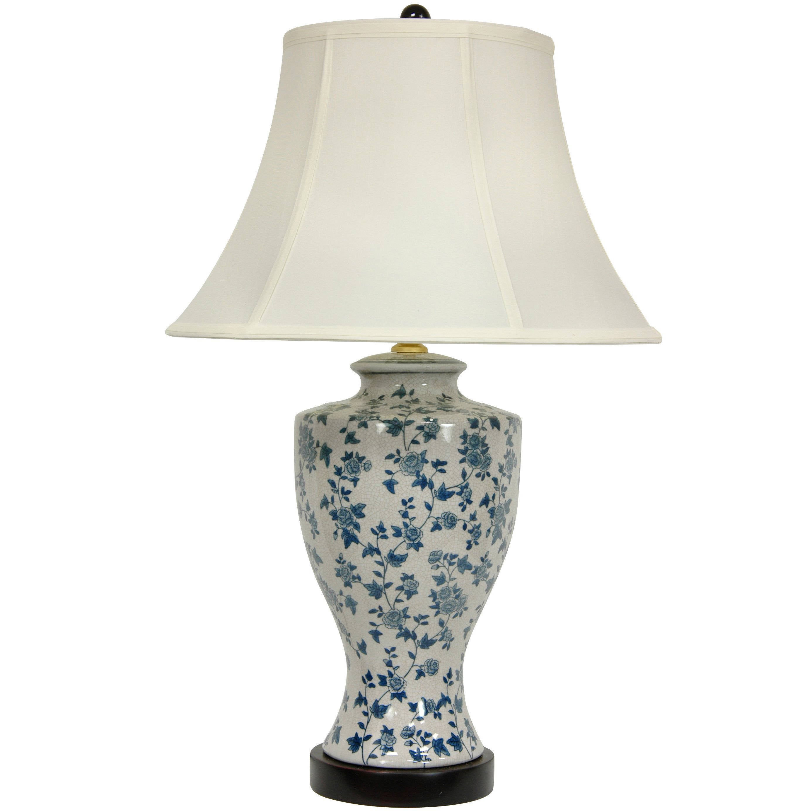 Shop Handmade Blue And White Flower Vine Lamp With Off White Fabric
