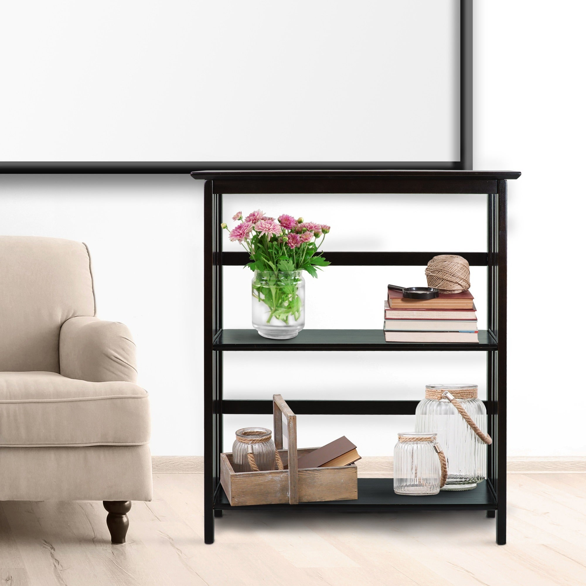 Espresso Wood Mission-style 3-tier Shelf - Free Shipping Today ...