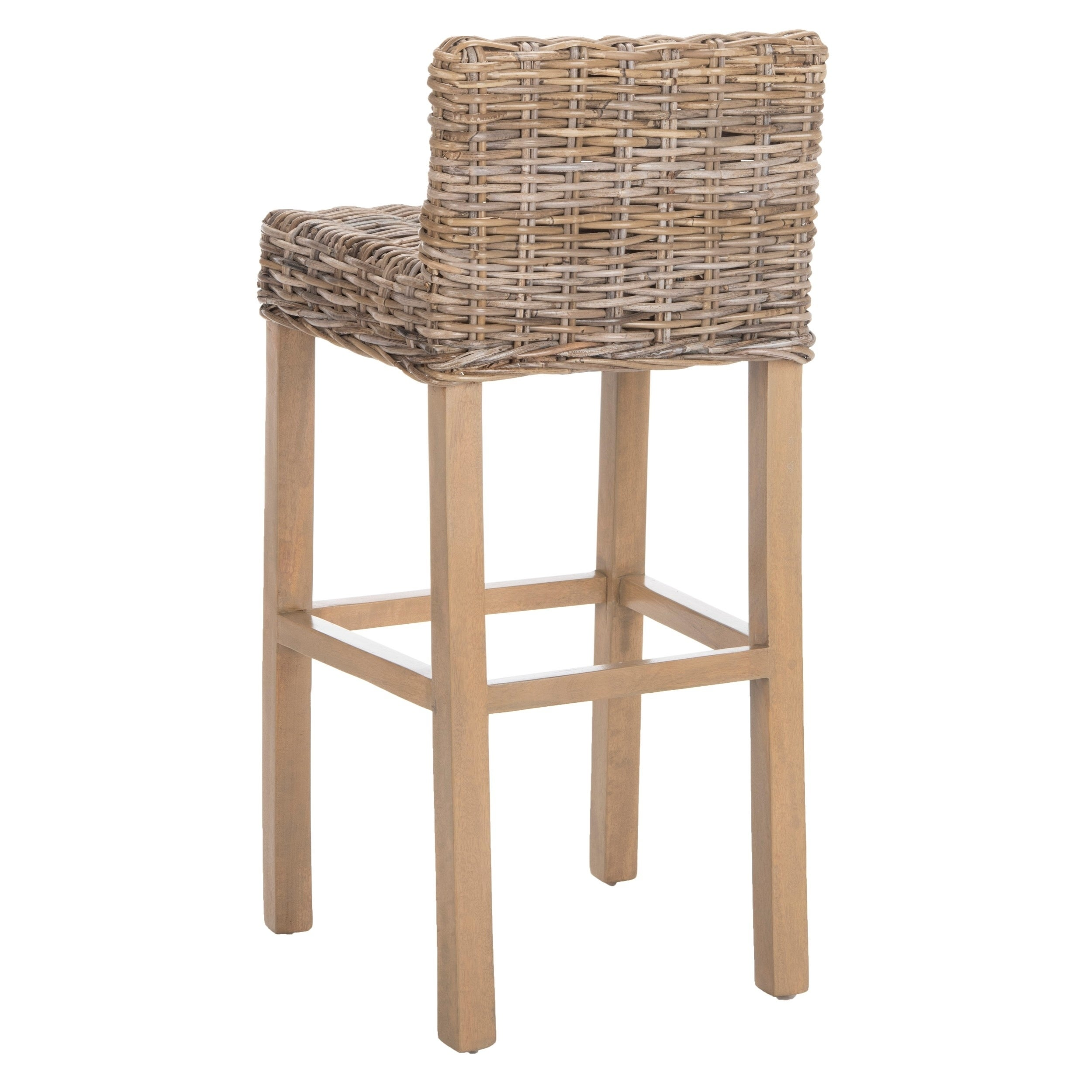 Shop safavieh 30 inch st grey beige wicker bar stool free shipping today overstock com 6347621