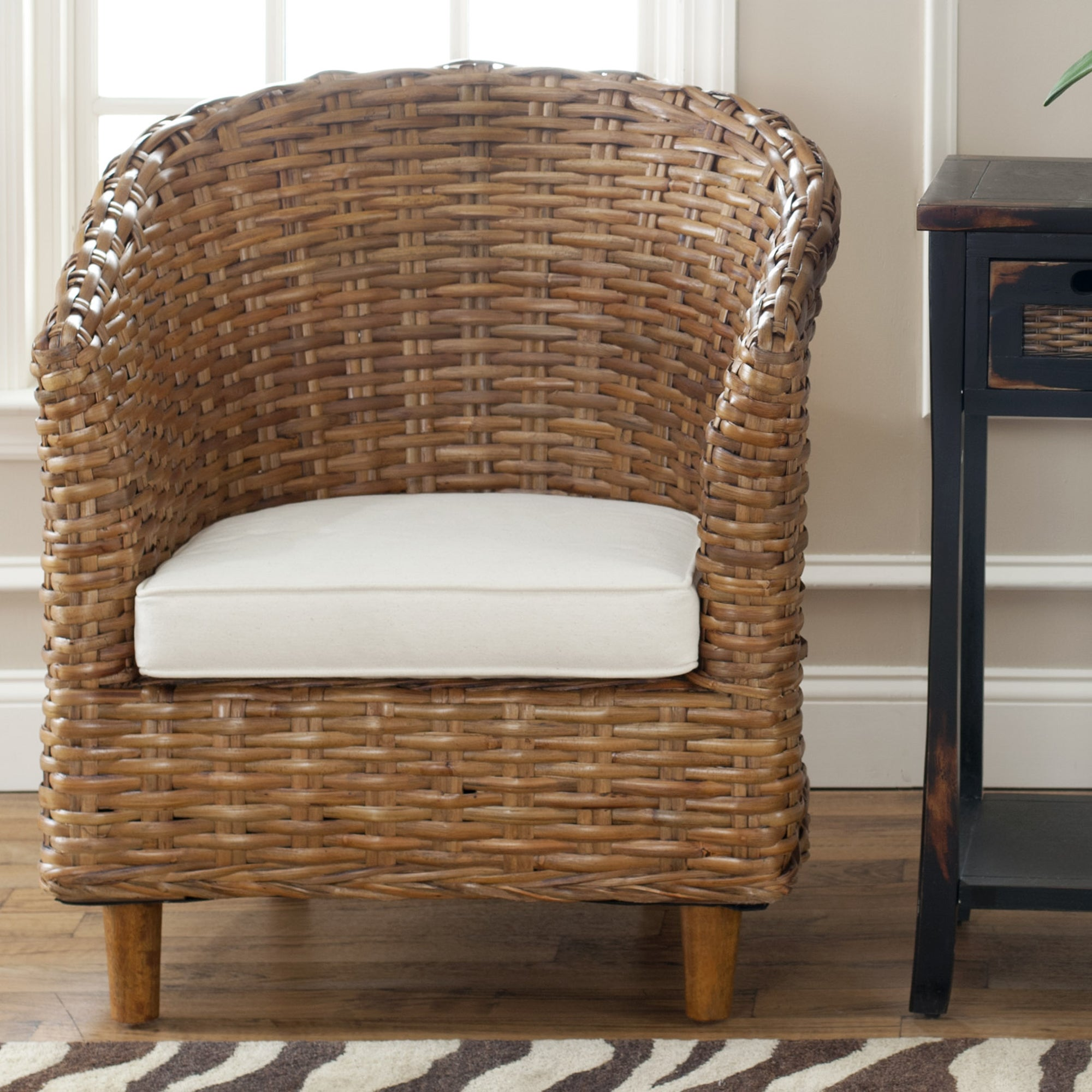 Captivating Safavieh St. Thomas Indoor Wicker Honey Brown Barrel Chair   Free Shipping  Today   Overstock   13968652