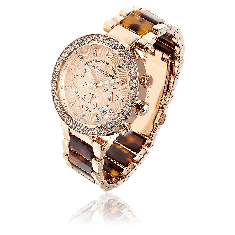 9aa6050a1ca4 Shop Michael Kors Women s MK5538  Parker  Rosetone and Tortoise Resin Glitz  Watch - Free Shipping Today - Overstock - 6348163