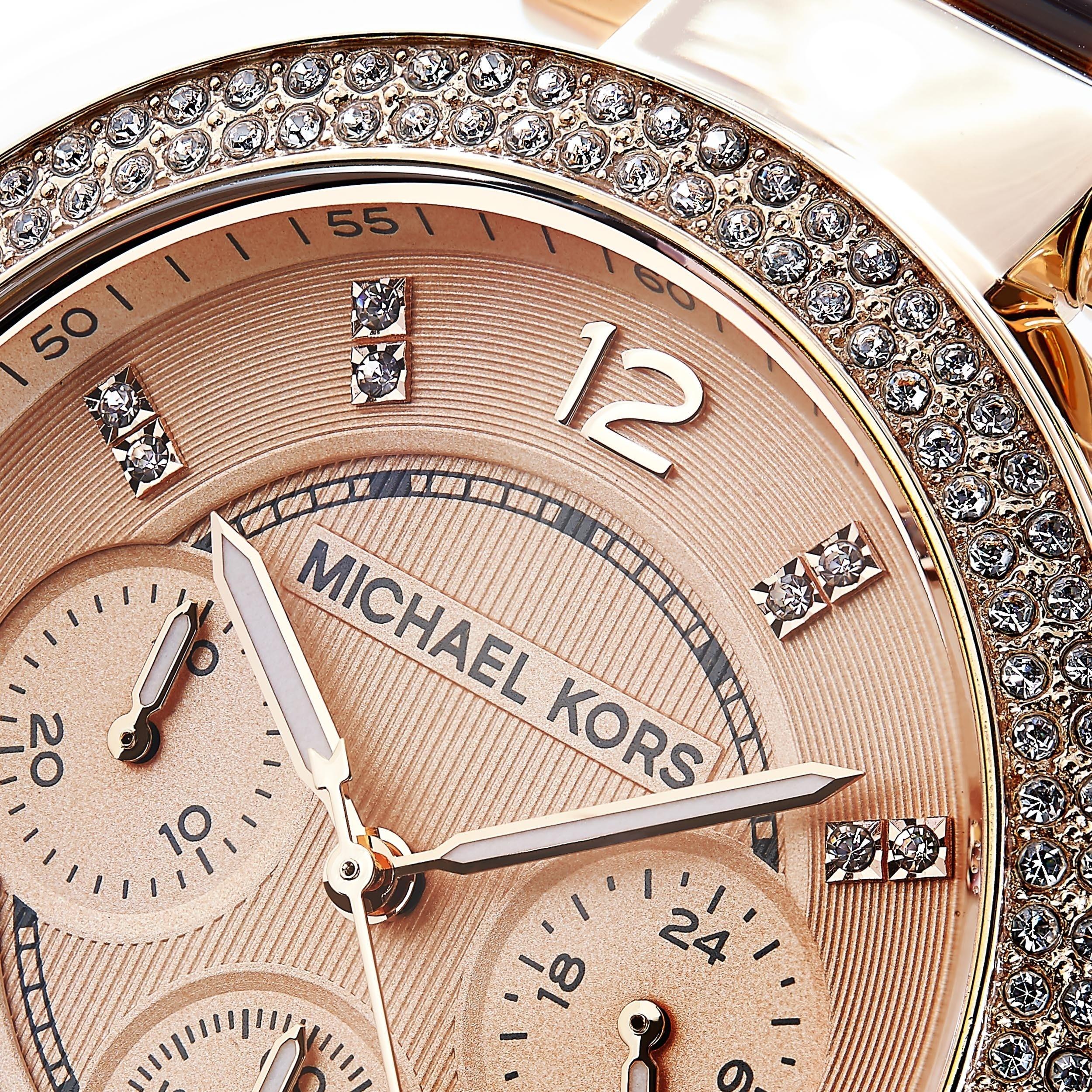 69bb616275b9 Shop Michael Kors Women s MK5538  Parker  Rosetone and Tortoise Resin Glitz  Watch - Free Shipping Today - Overstock - 6348163