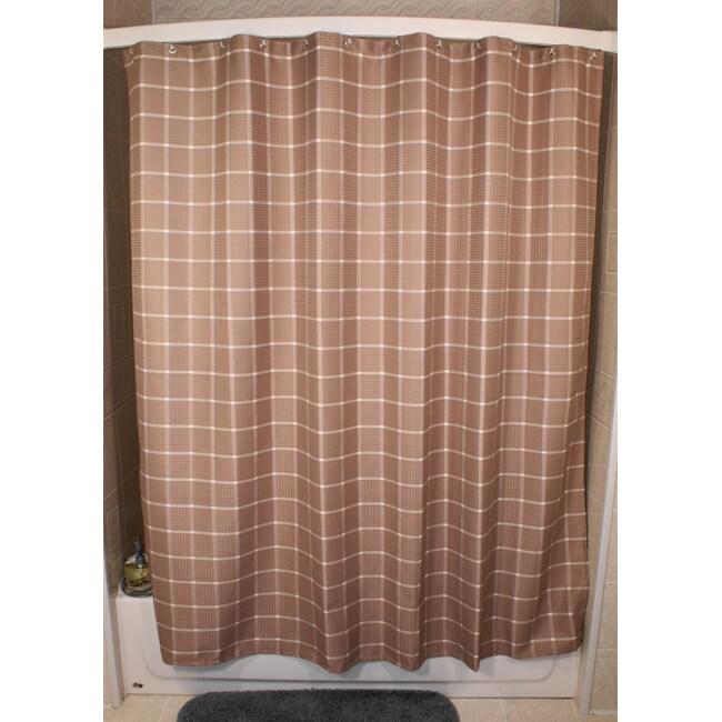 Shop Lincoln Khaki Grid Shower Curtain