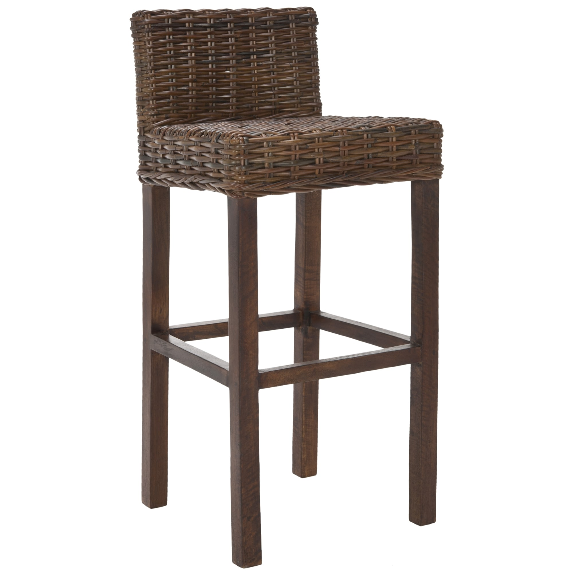 Shop Safavieh St. Thomas Indoor Wicker Brown Bar Stool   On Sale   Free  Shipping Today   Overstock.com   6356479