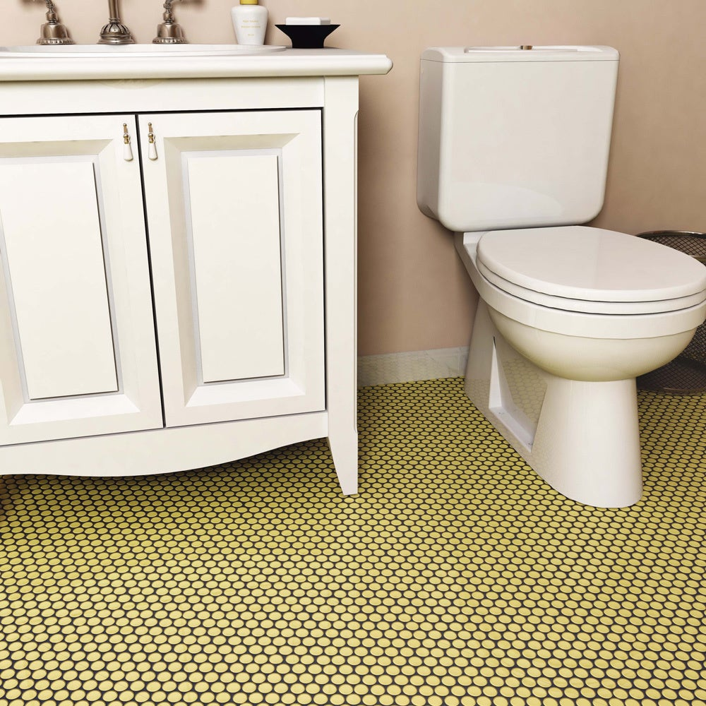 SomerTile 12x12.625-inch Penny Vintage Yellow Porcelain Mosaic Floor and  Wall Tile (10 tiles/10.2 sqft.) - Free Shipping On Orders Over $45 -  Overstock.com ...