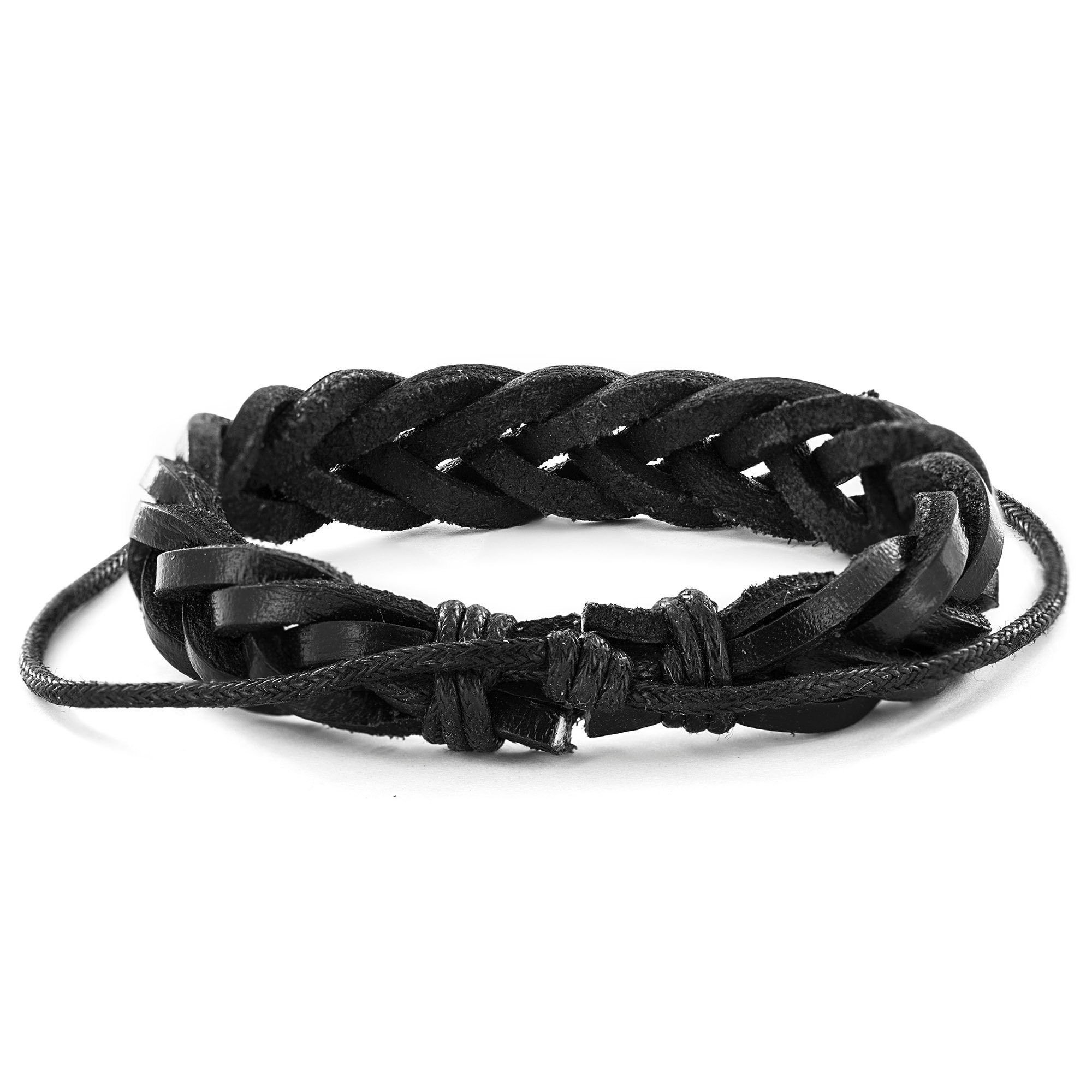Black Leather Braided Bracelet Free Shipping On Orders Over 45 6359677