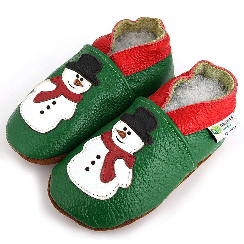 16e069437 Snowman Soft Sole Leather Baby Shoes