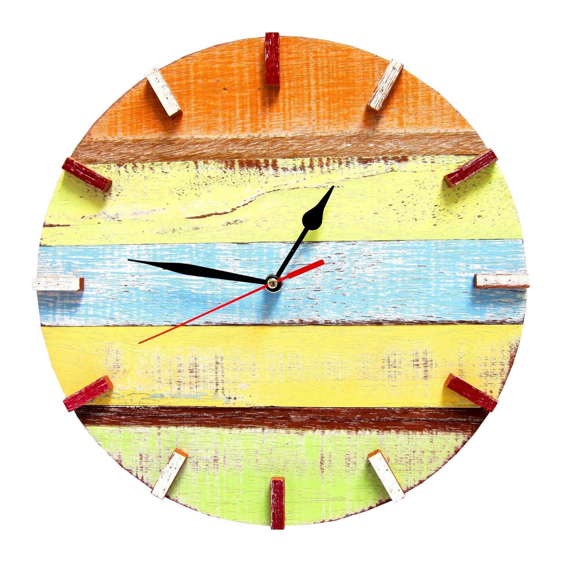 Handmade Recycled Boat Wood Beach House Clock (Thailand) - Free ...