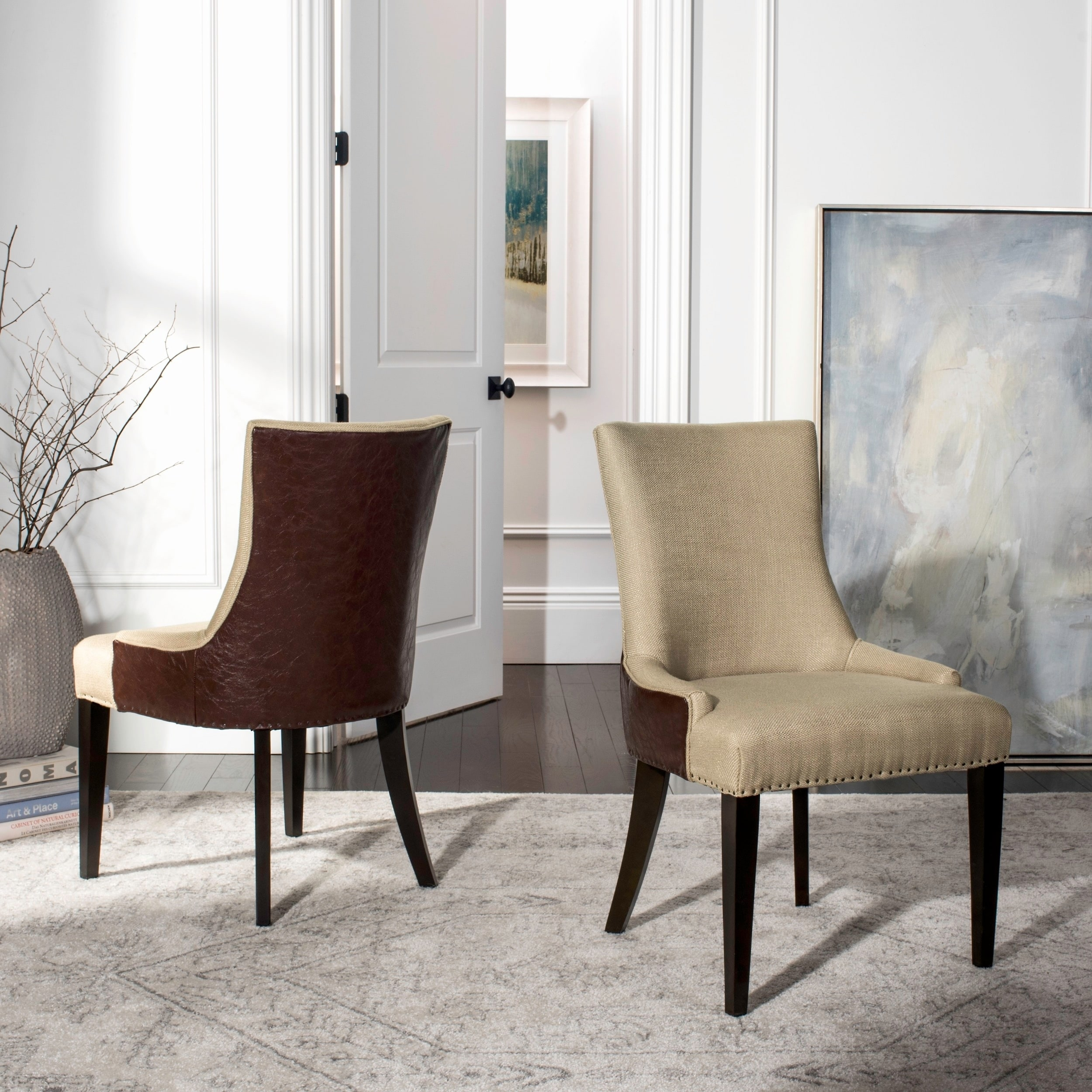 Shop safavieh en vogue dining becca beige viscose and leather back dining chair on sale free shipping today overstock com 6367578