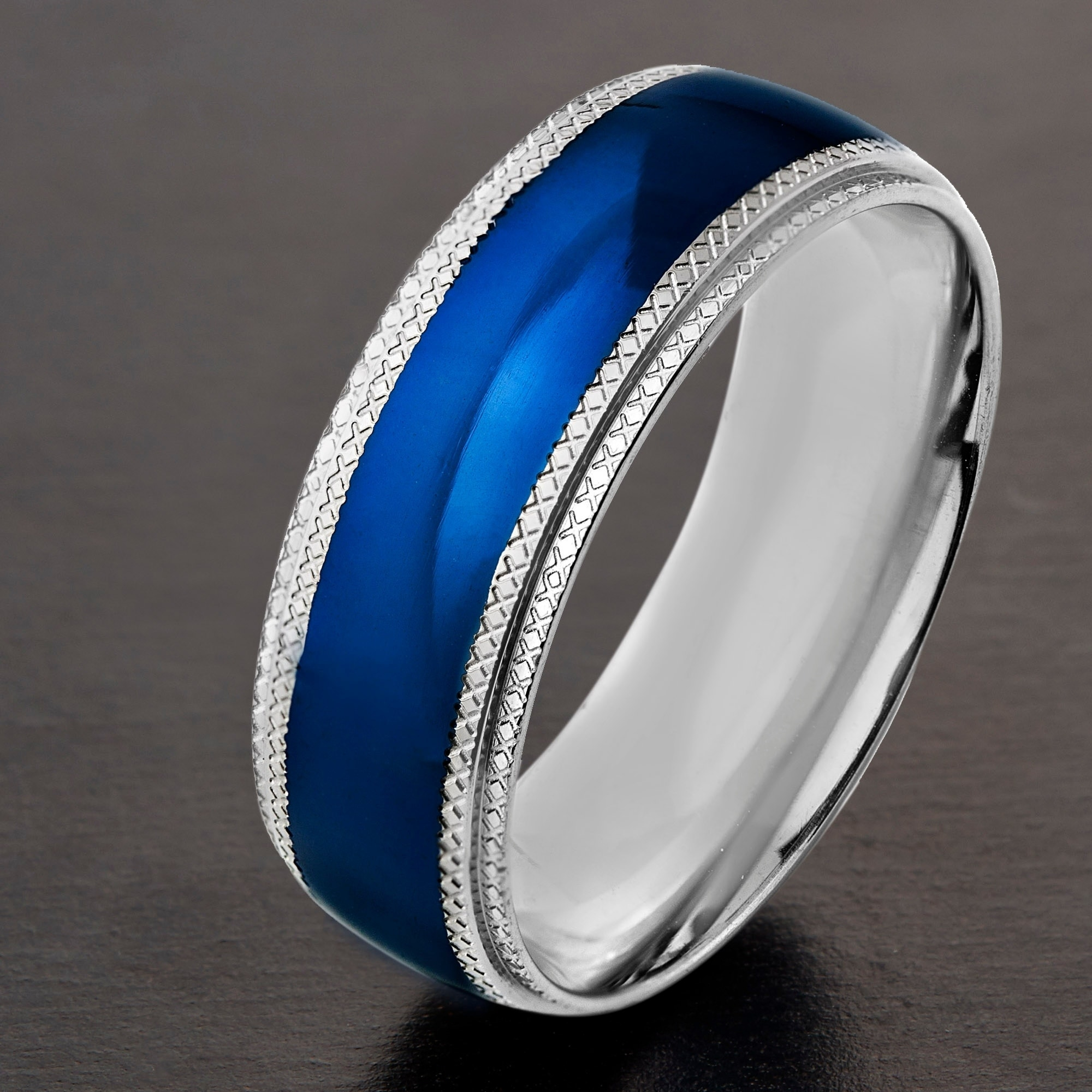 ring rhodium p rings s diamond star men wedding blue mens