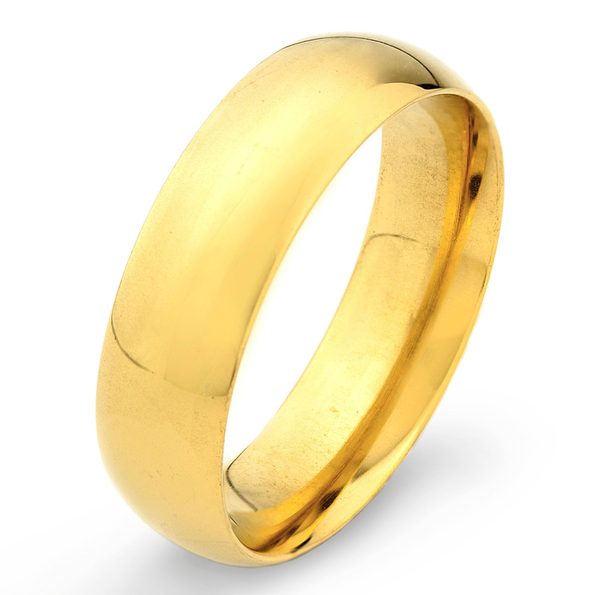stainless steel goldplated wedding band ring 6mm free shipping