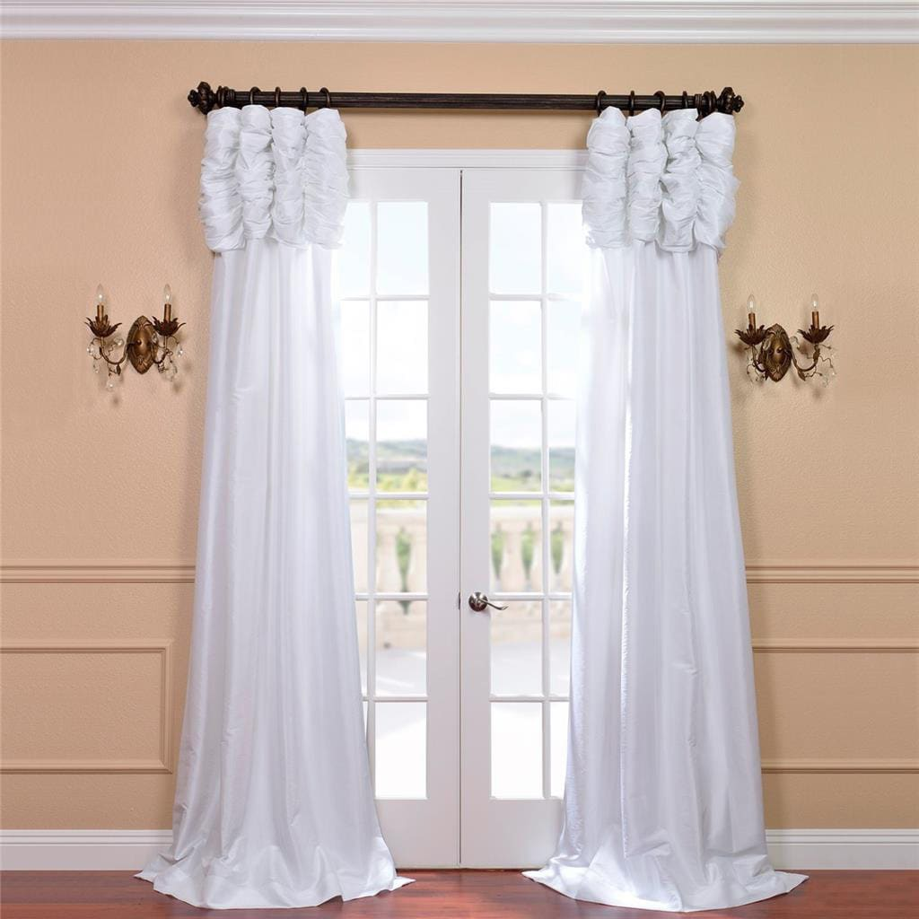 Exclusive Fabrics Ruched Header Solid Color Faux Silk Taffeta 96 Inch Curtain Panel