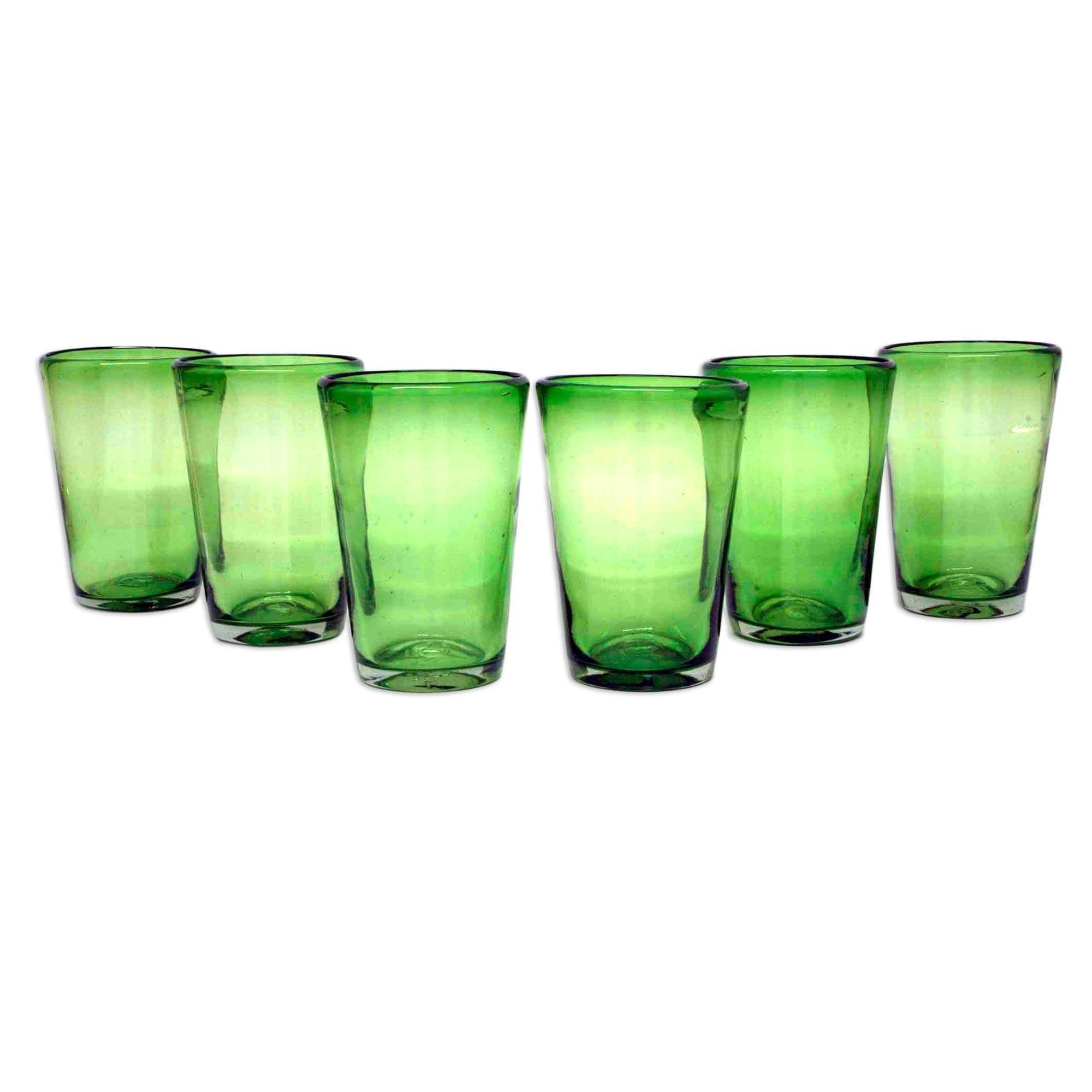 fdc3d88e6a9 Shop Handmade Glass Emerald Angles Drinking Glasses Set of 6 (Mexico) -  Free Shipping Today - Overstock - 6369729