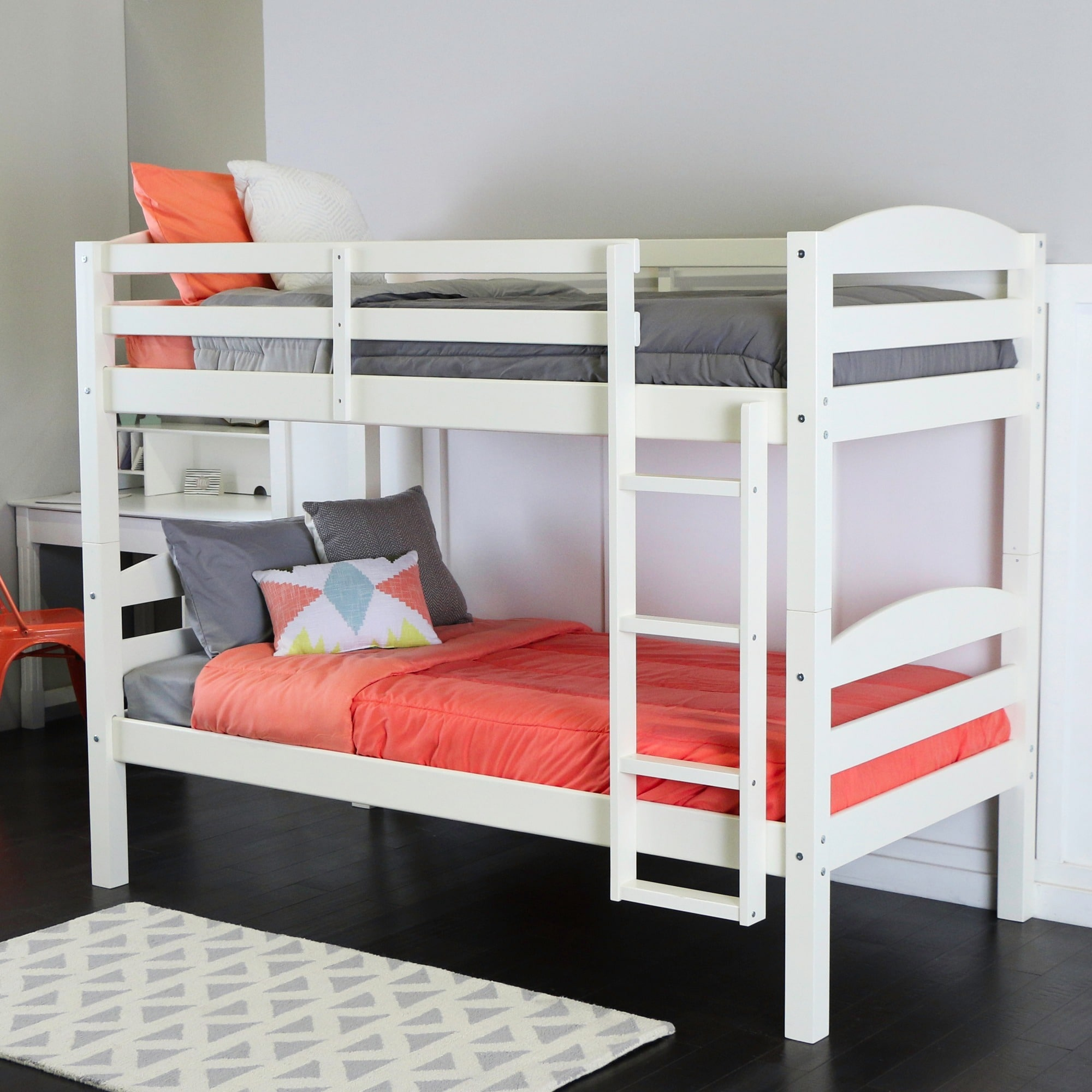 Shop Taylor & Olive Christian Wood Twin Over Twin Bunk Bed - White ...