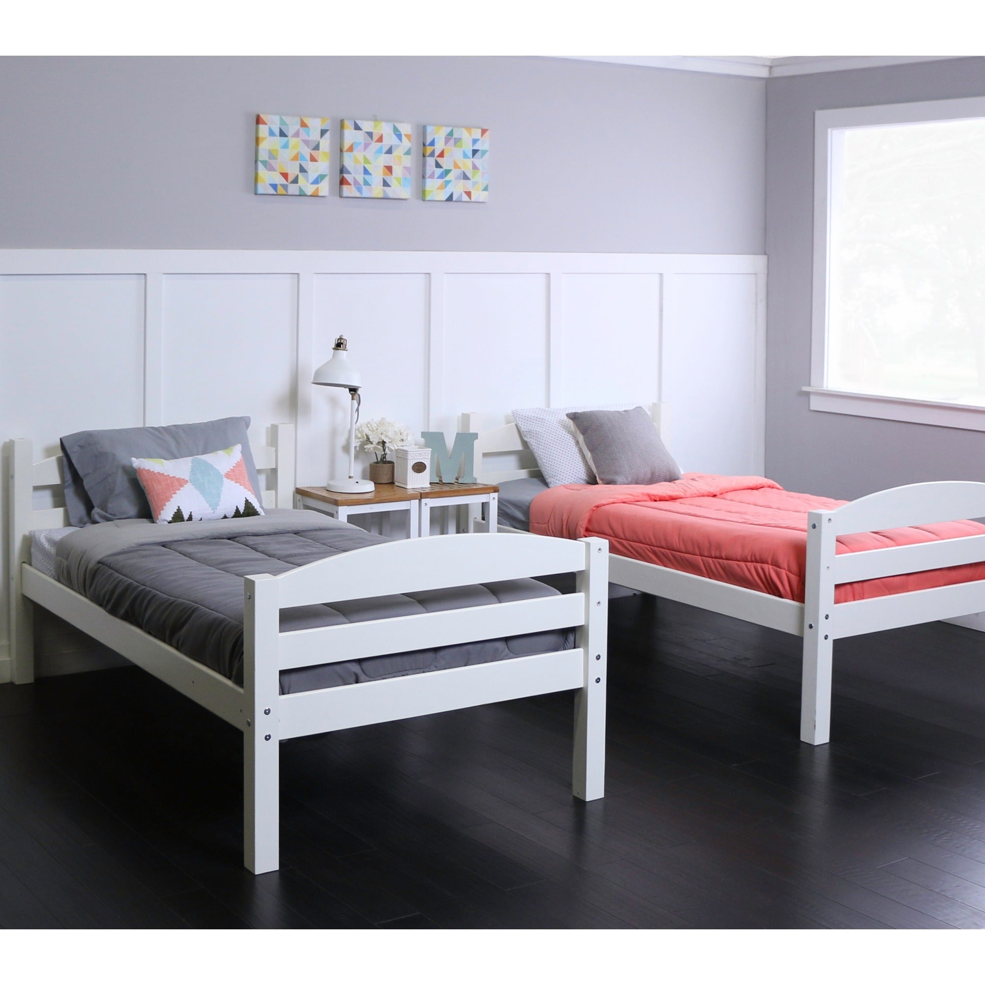 Twin Over Twin Solid Wood White Bunk Bed - Free Shipping Today ...